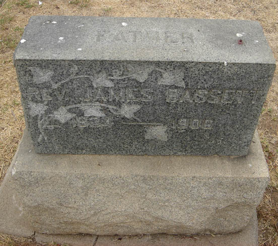 James Bassett is buried at Evergreen Cemetery, Los Angeles, California.