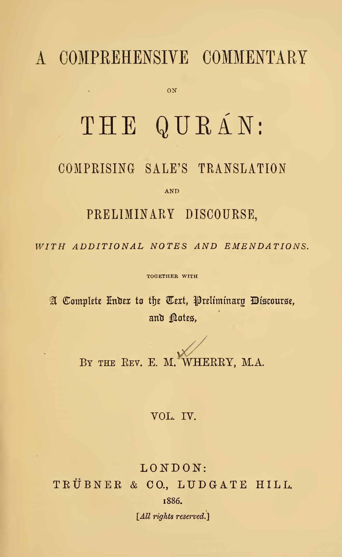 Wherry, Elwood Morris, A Comprehensive Commentary on the Quran, Vol. 4 Title Page.jpg