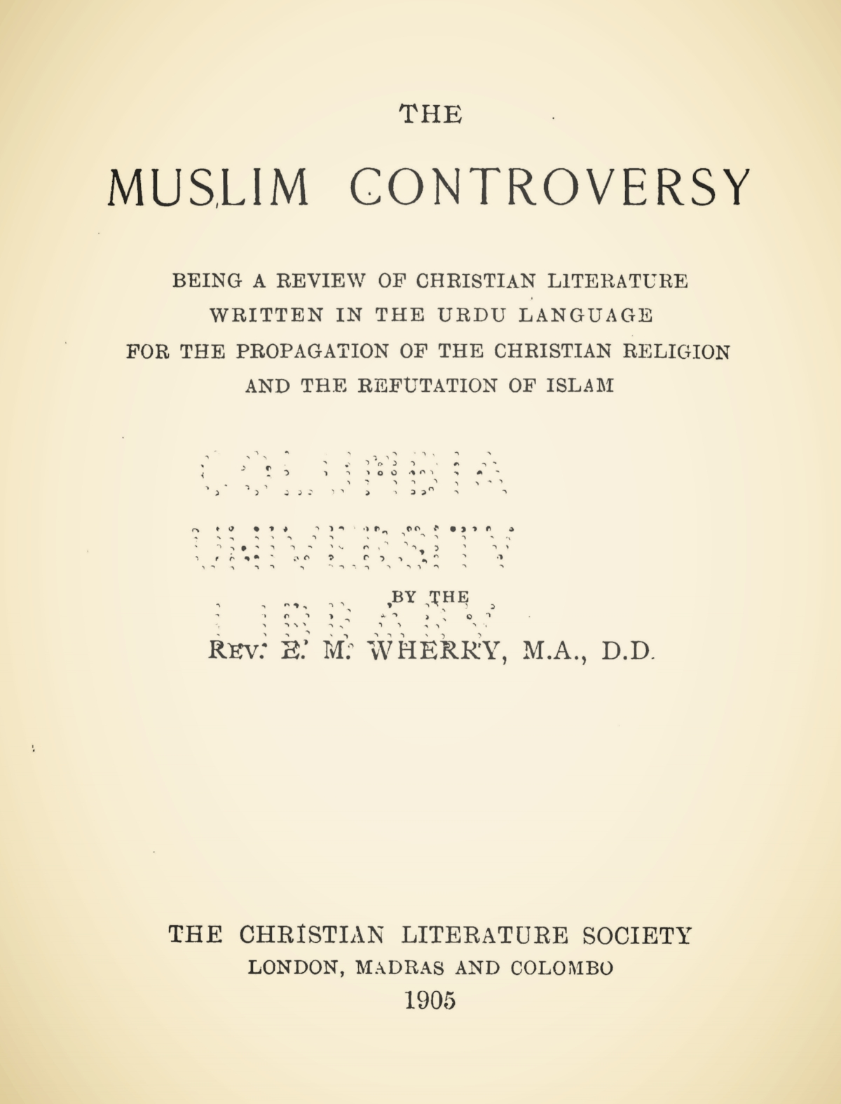 Wherry, Elwood Morris, The Muslim Controversy Title Page.jpg