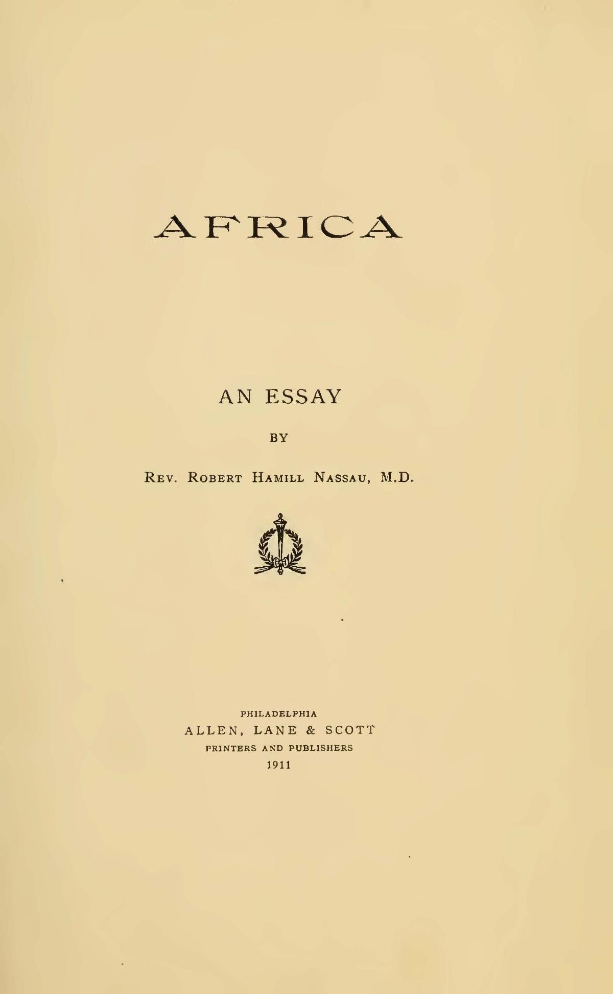 Nassau, Robert Hamill, Africa An Essay Title Page.jpg