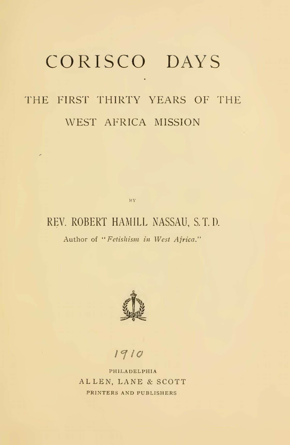 Nassau, Robert Hamill, Corisco Days Title Page.jpg