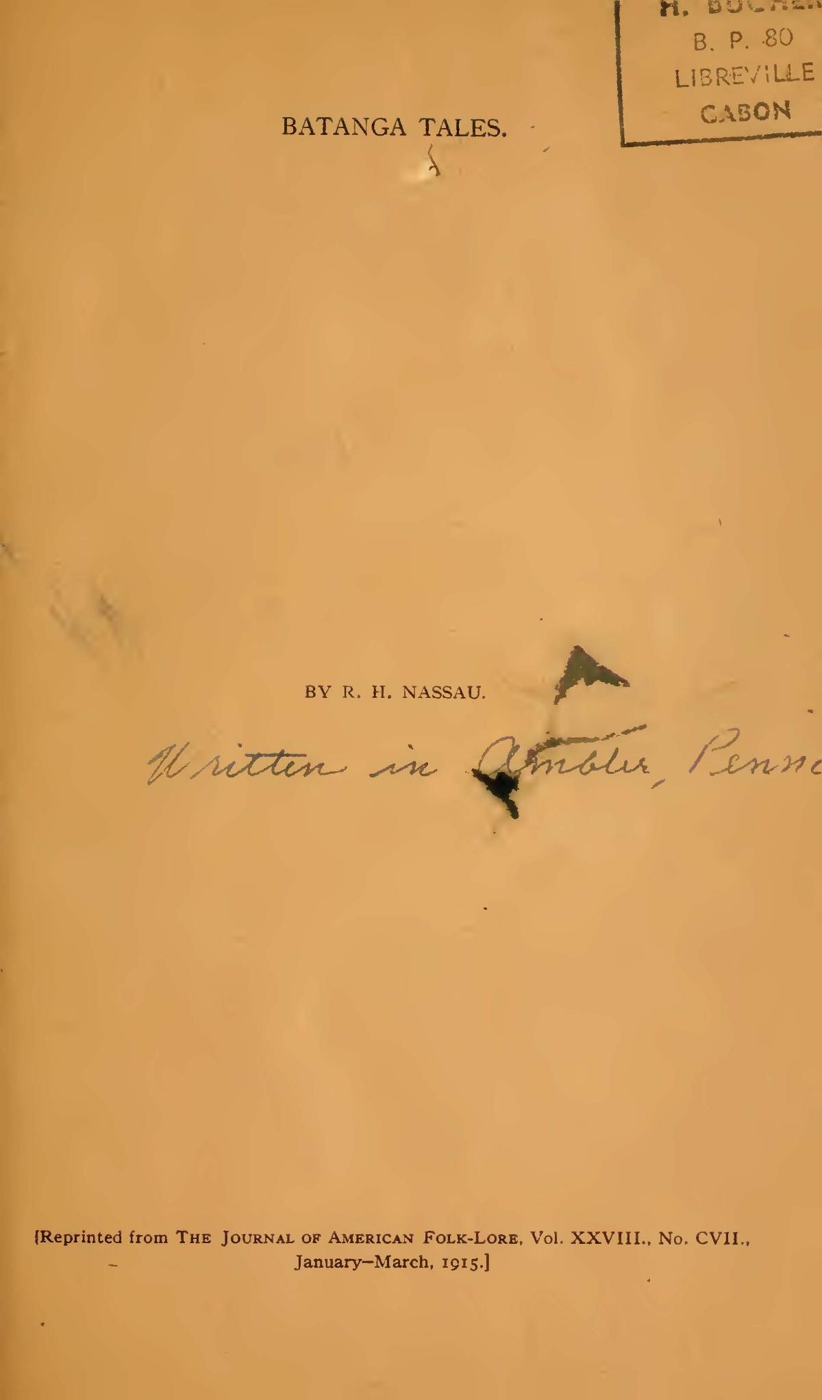 Nassau, Robert Hamill, Batanga Tales Title Page.jpg