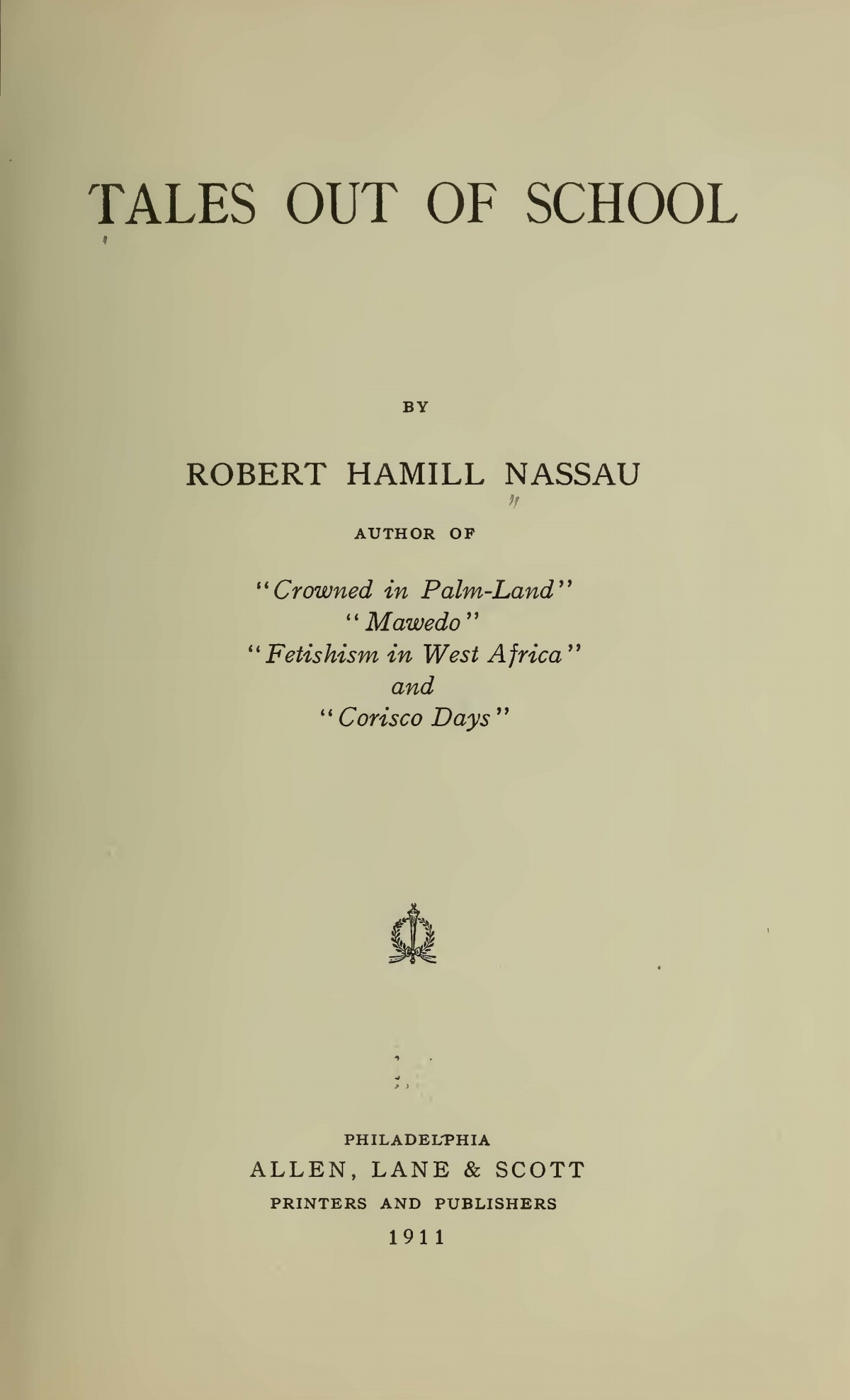 Nassau, Robert Hamill, Tales Out of School Title Page.jpg