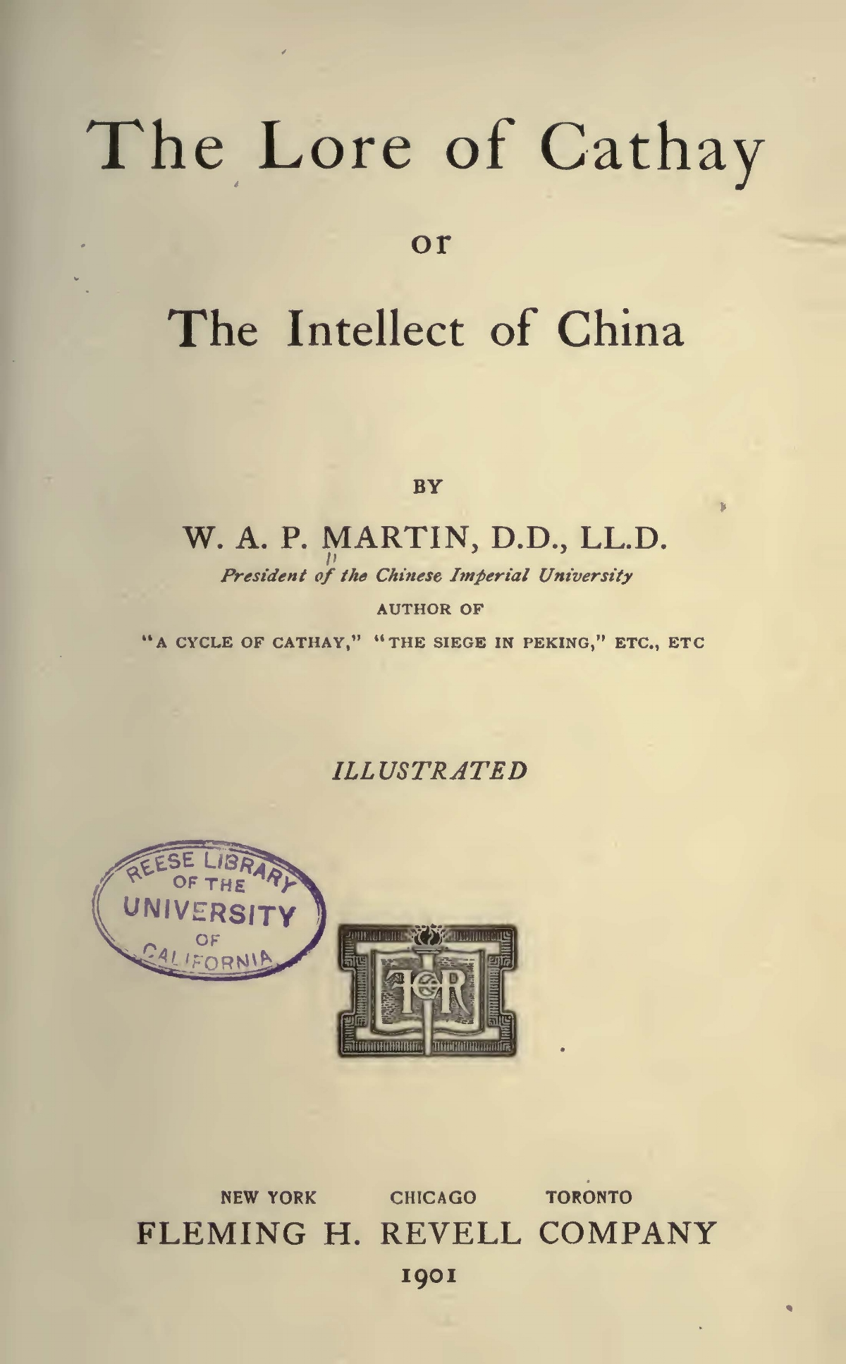 Martin, William Alexander Parsons, The Lore of Cathay Title Page.jpg