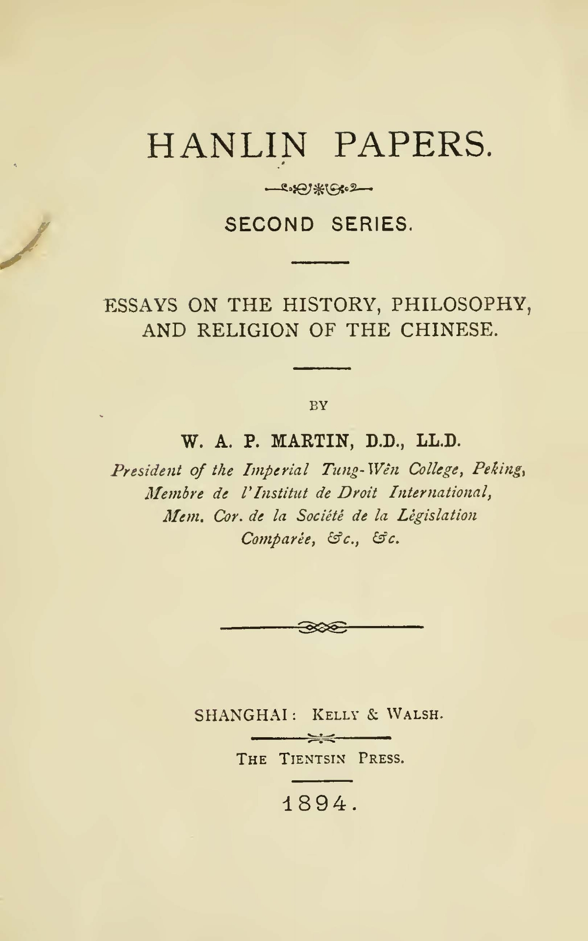 Martin, William Alexander Parsons, Hanlin Papers Title Page.jpg