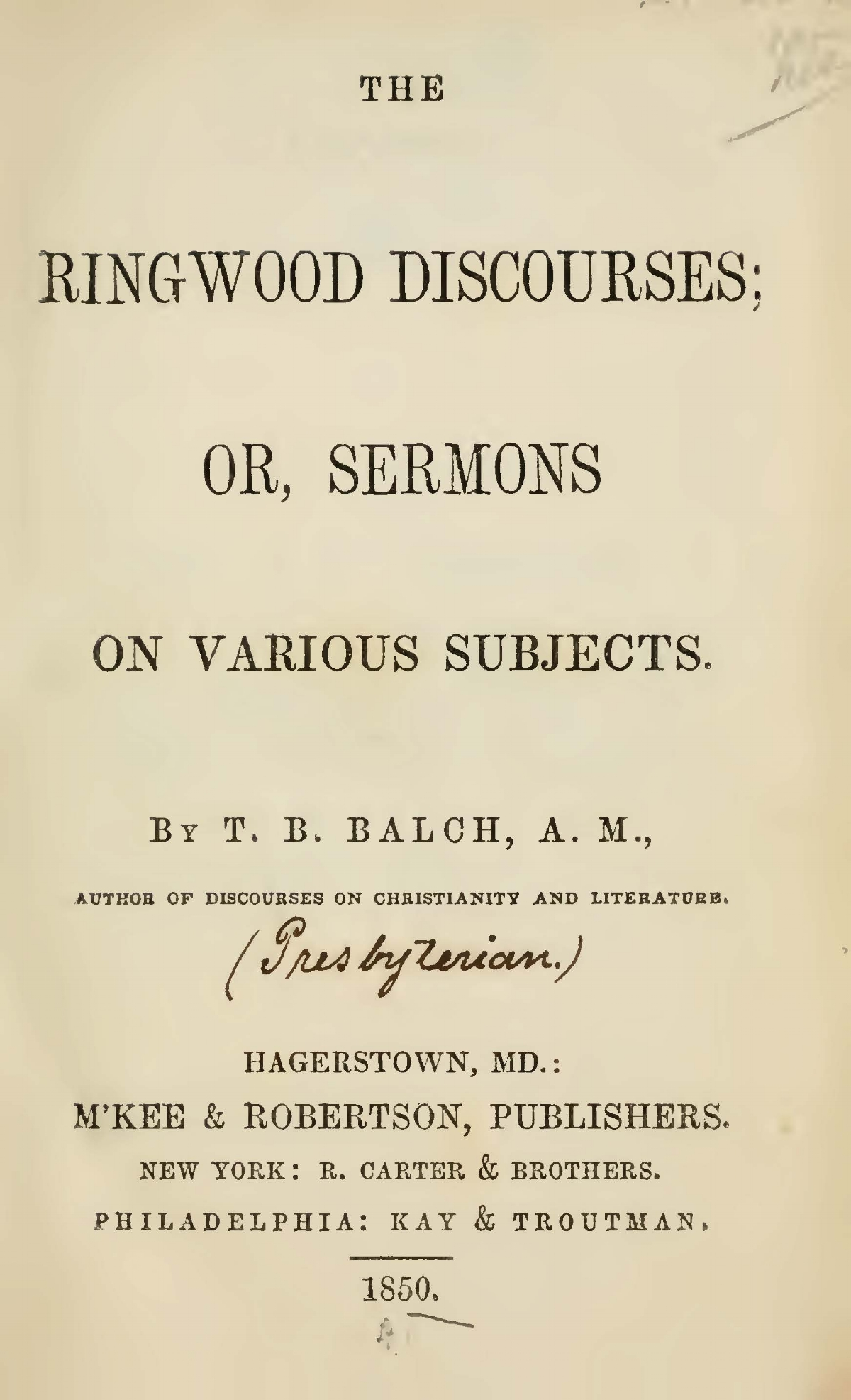 Balch, Thomas Bloomer, The Ringwood Discourses Title Page.jpg
