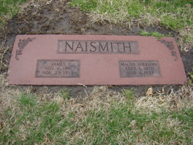 James Naismith is buried at Memorial Park Cemetery, Lawrence, Kansas.