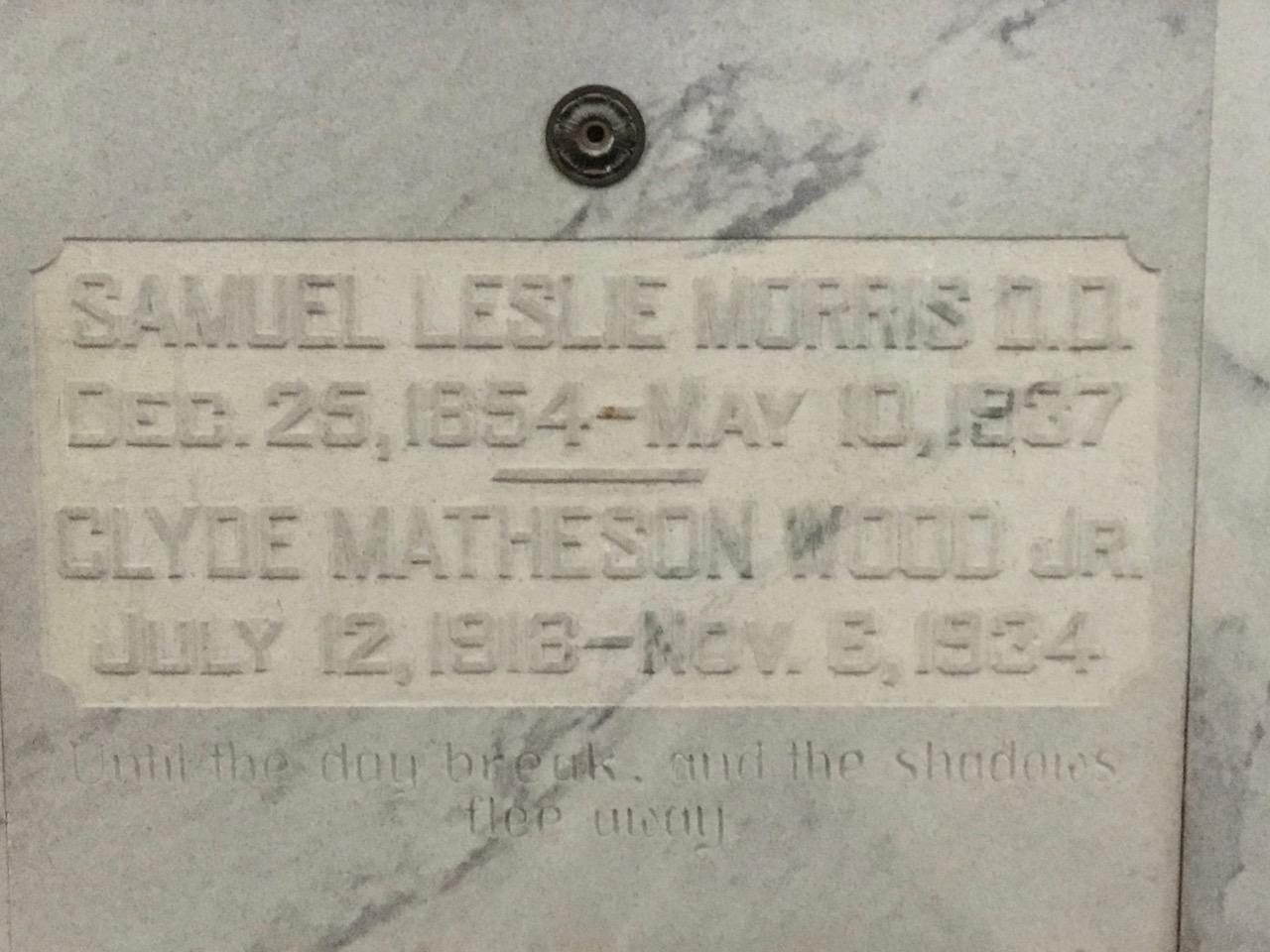 Samuel Leslie Morris is buried at Crest Lawn Cemetery, Atlanta, Georgia.