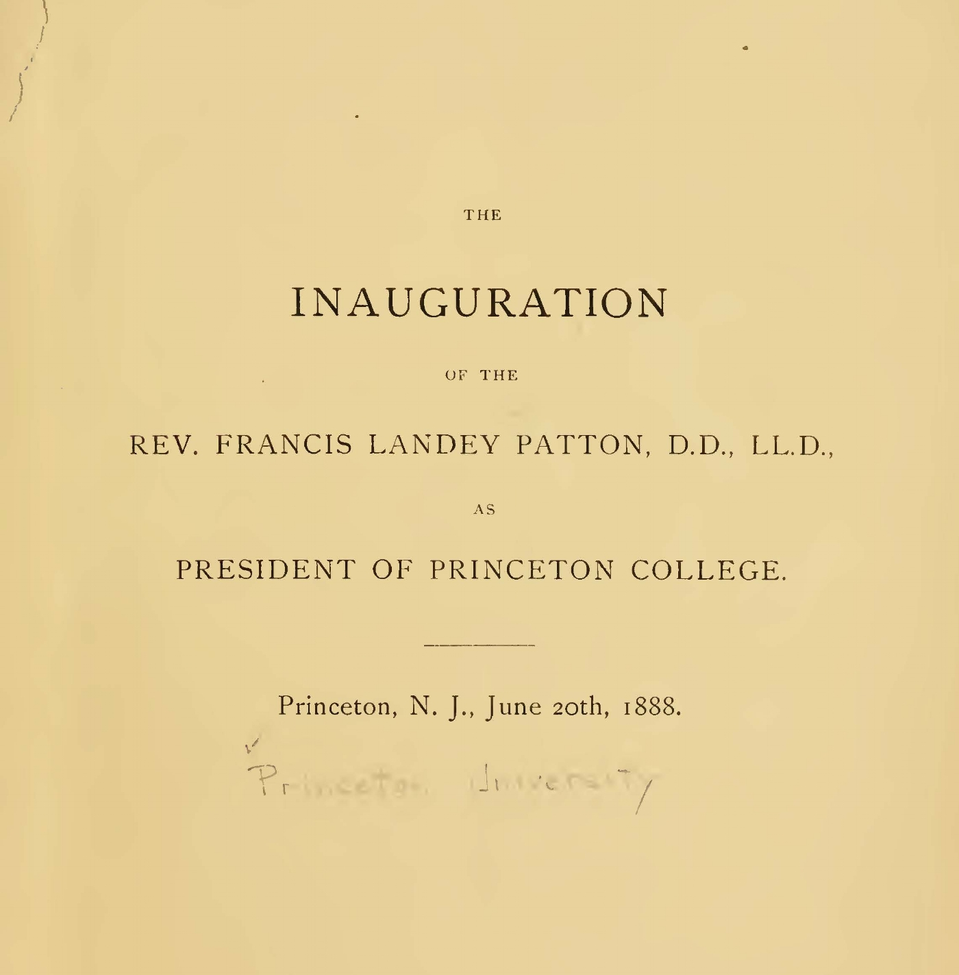 Patton, Francis Landey, Inaugural Address at Princeton College Title Page.jpg