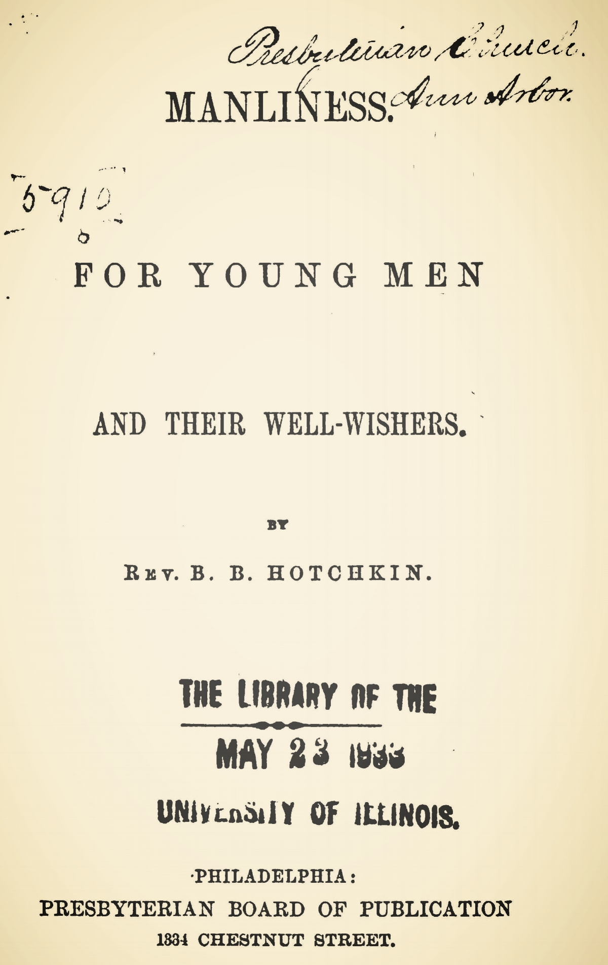 Hotchkin, Beriah Bishop, Manliness for Young Men Title Page.jpg