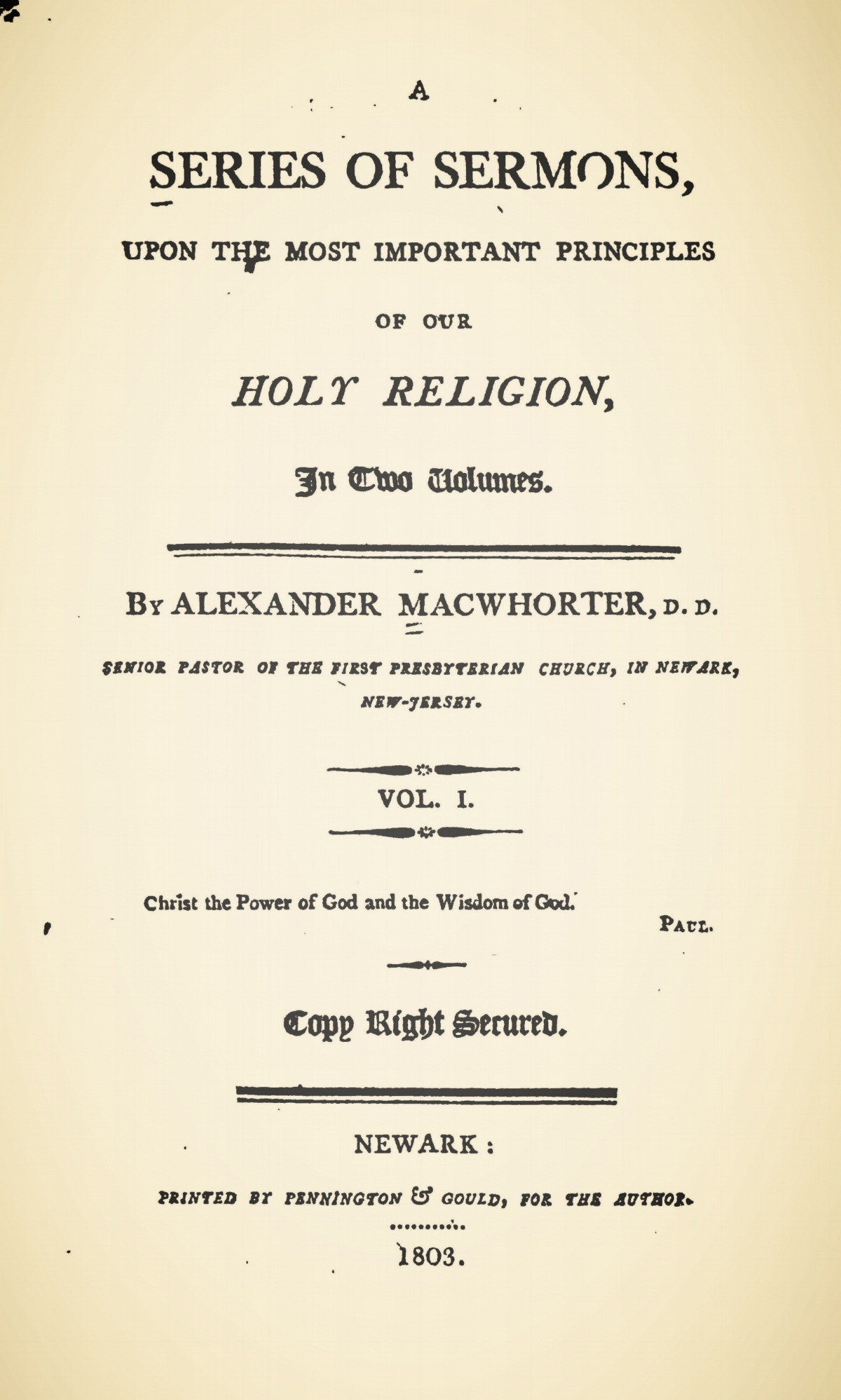 MacWhorter, Alexander, A Series of Sermons, Vol. 1 Title Page.jpg