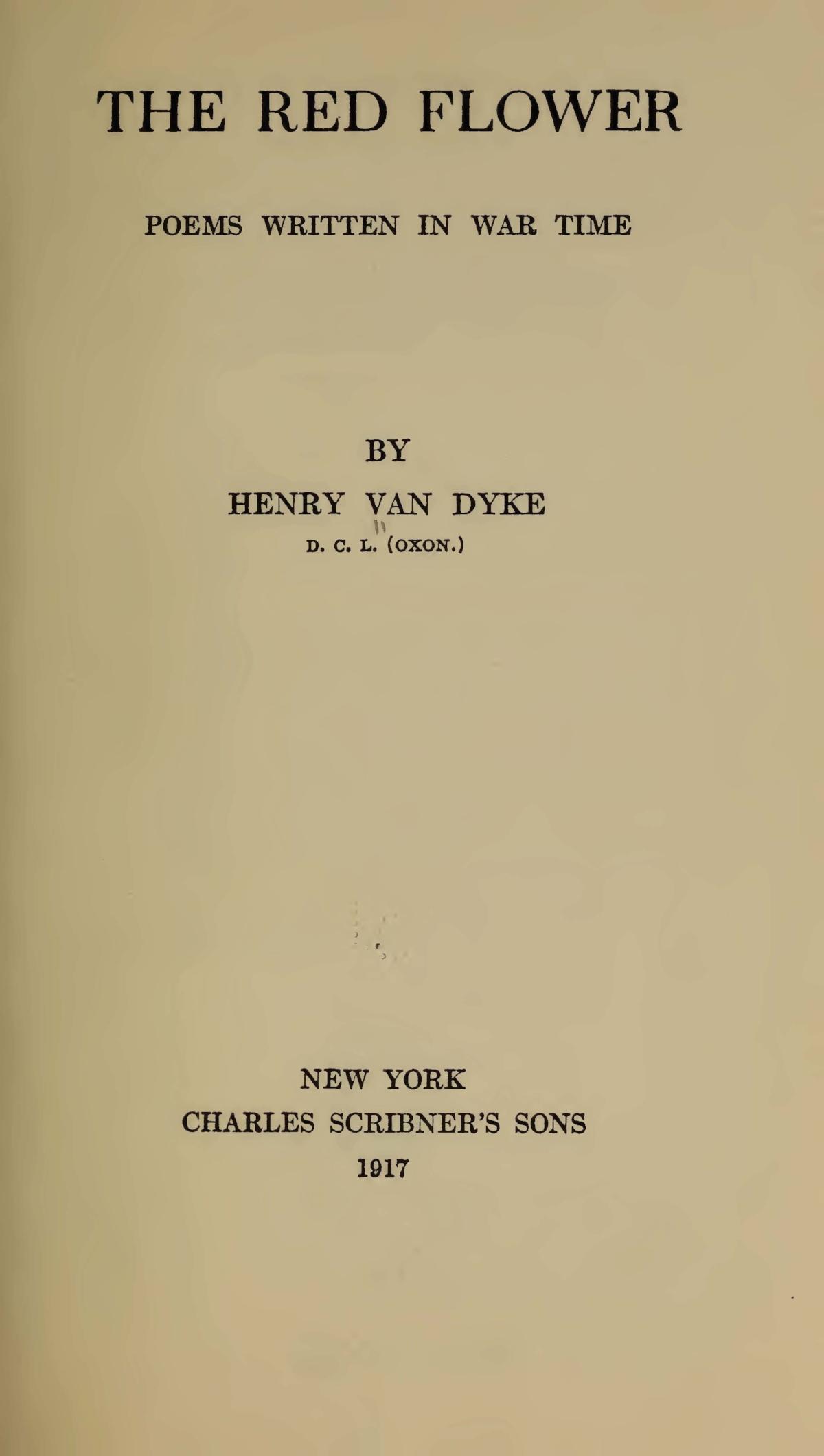 Van Dyke, Jr., Henry Jackson, The Red Flower Title Page.jpg