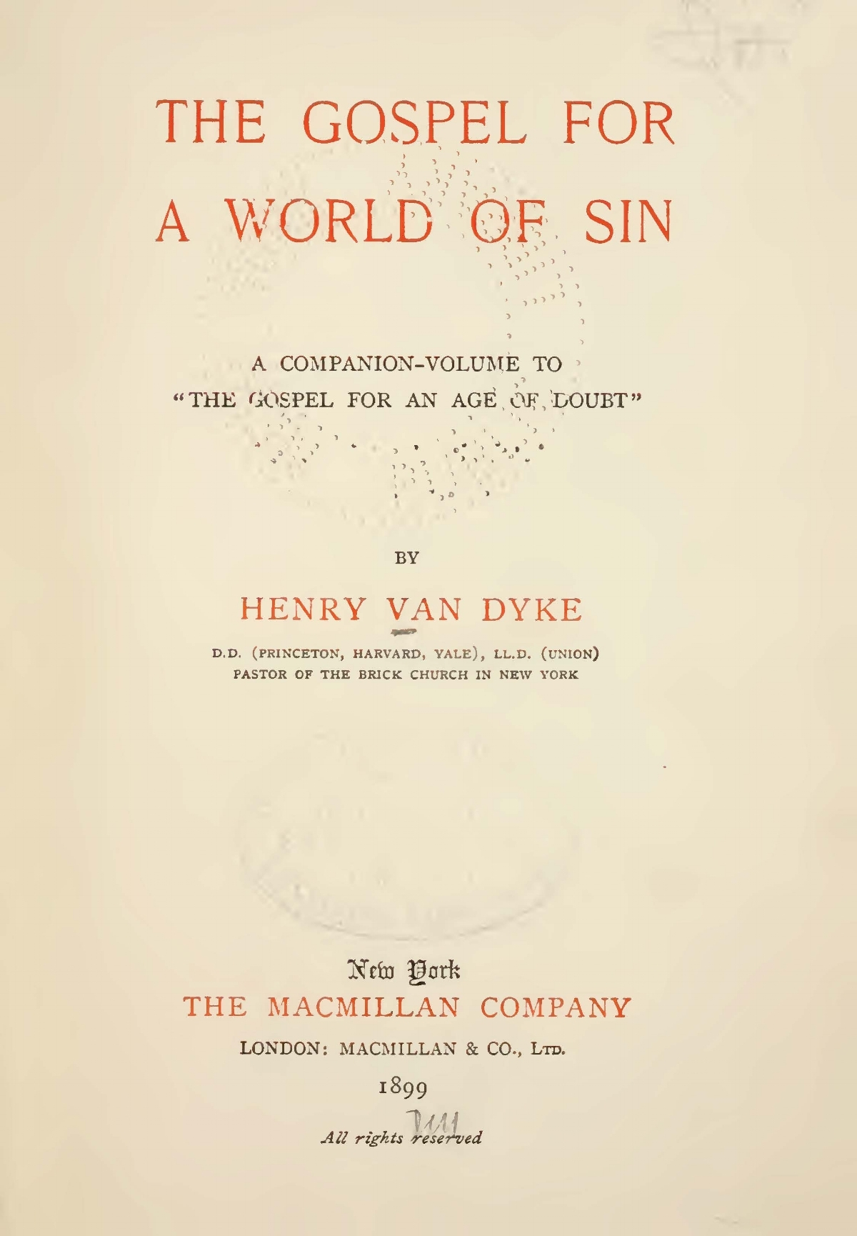 Van Dyke, Jr., Henry Jackson, The Gospel for a World of Sin Title Page.jpg