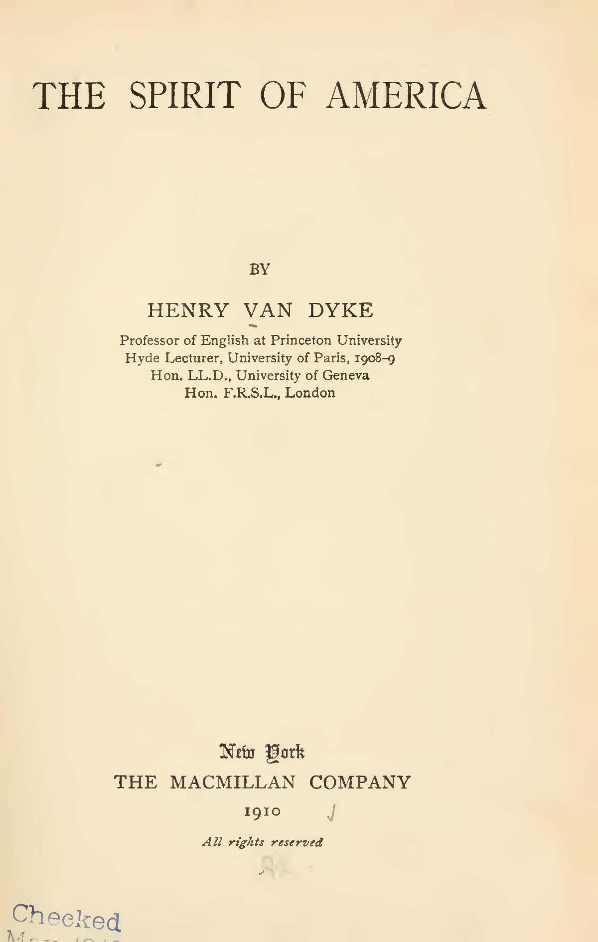 Van Dyke, Jr., Henry Jackson, The Spirit of America Title Page.jpg