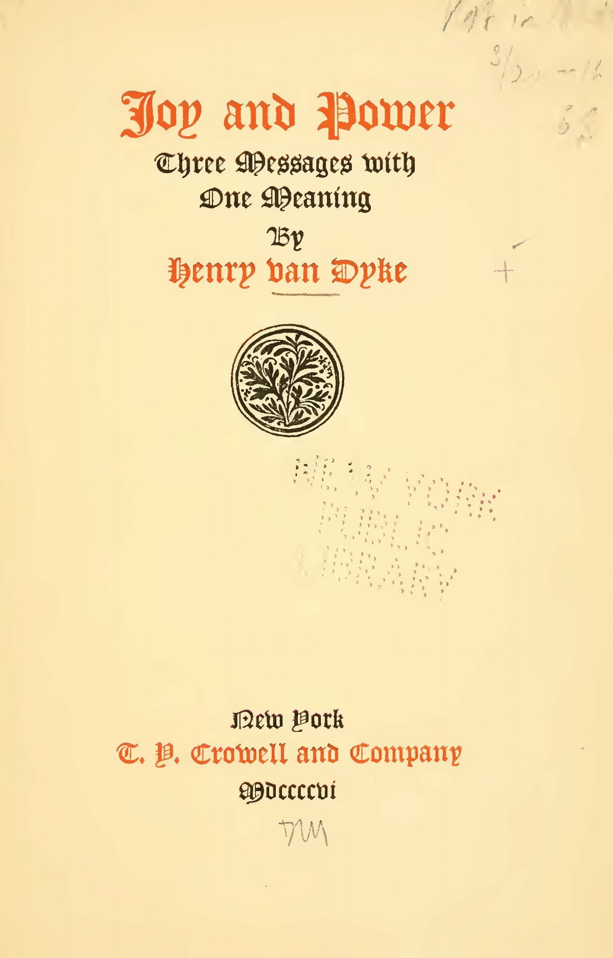 Van Dyke, Jr., Henry Jackson, Joy and Power Title Page.jpg