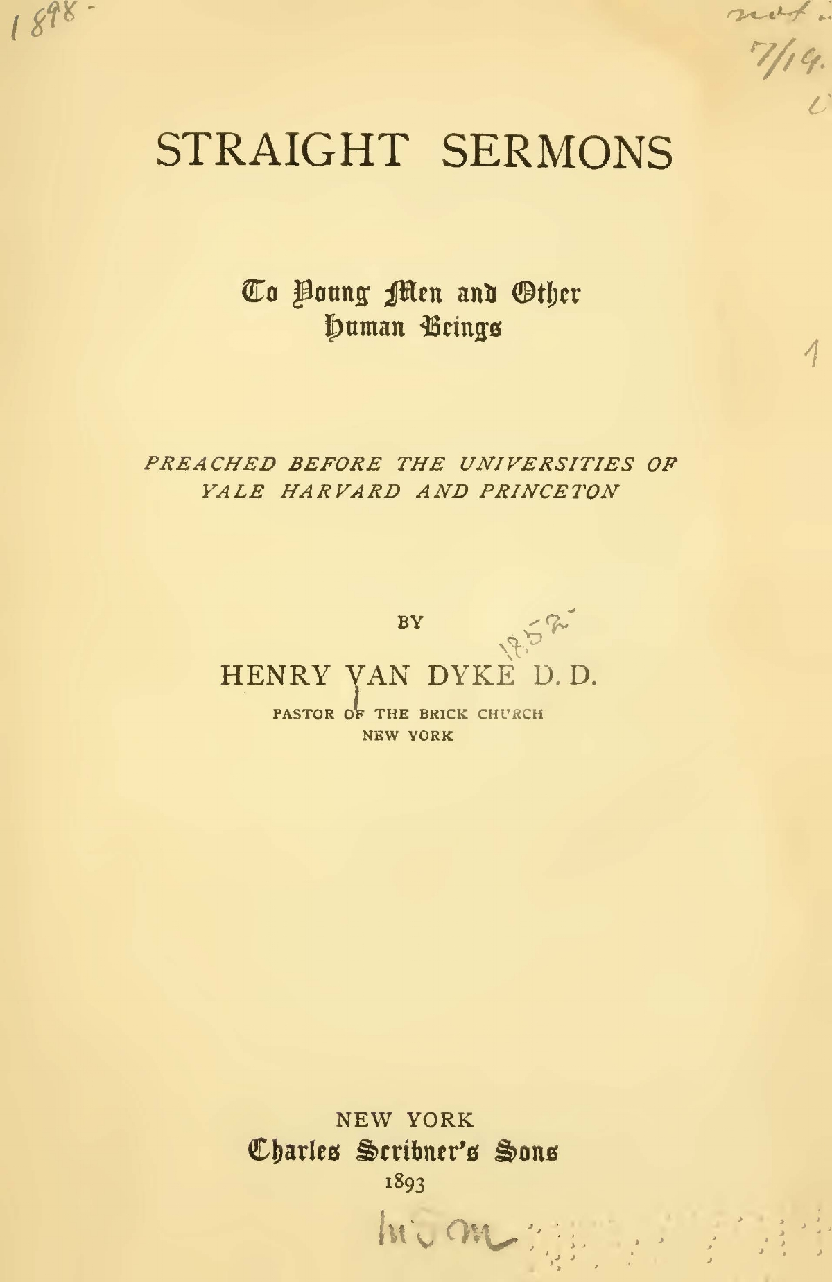 Van Dyke, Jr., Henry Jackson, Straight Sermons Title Page.jpg