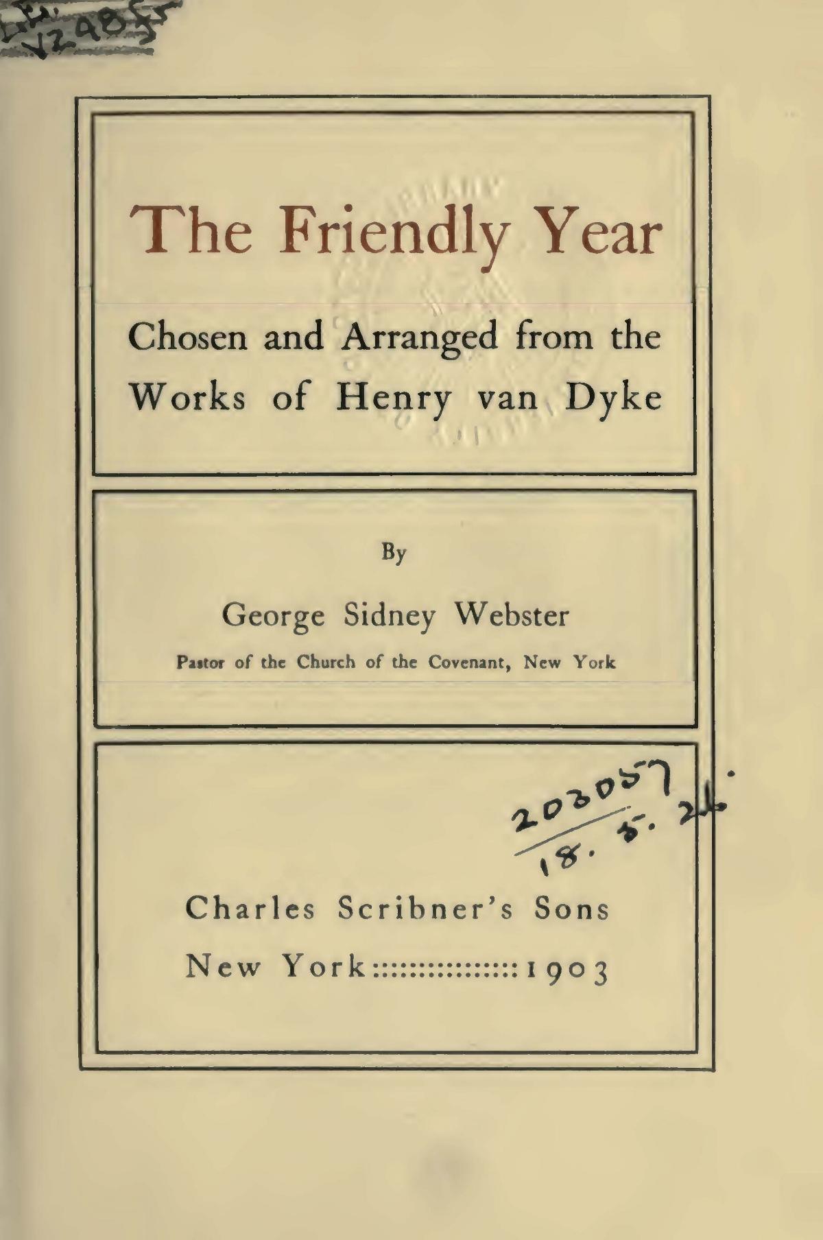 Van Dyke, Jr., Henry Jackson, The Friendly Year Title Page.jpg
