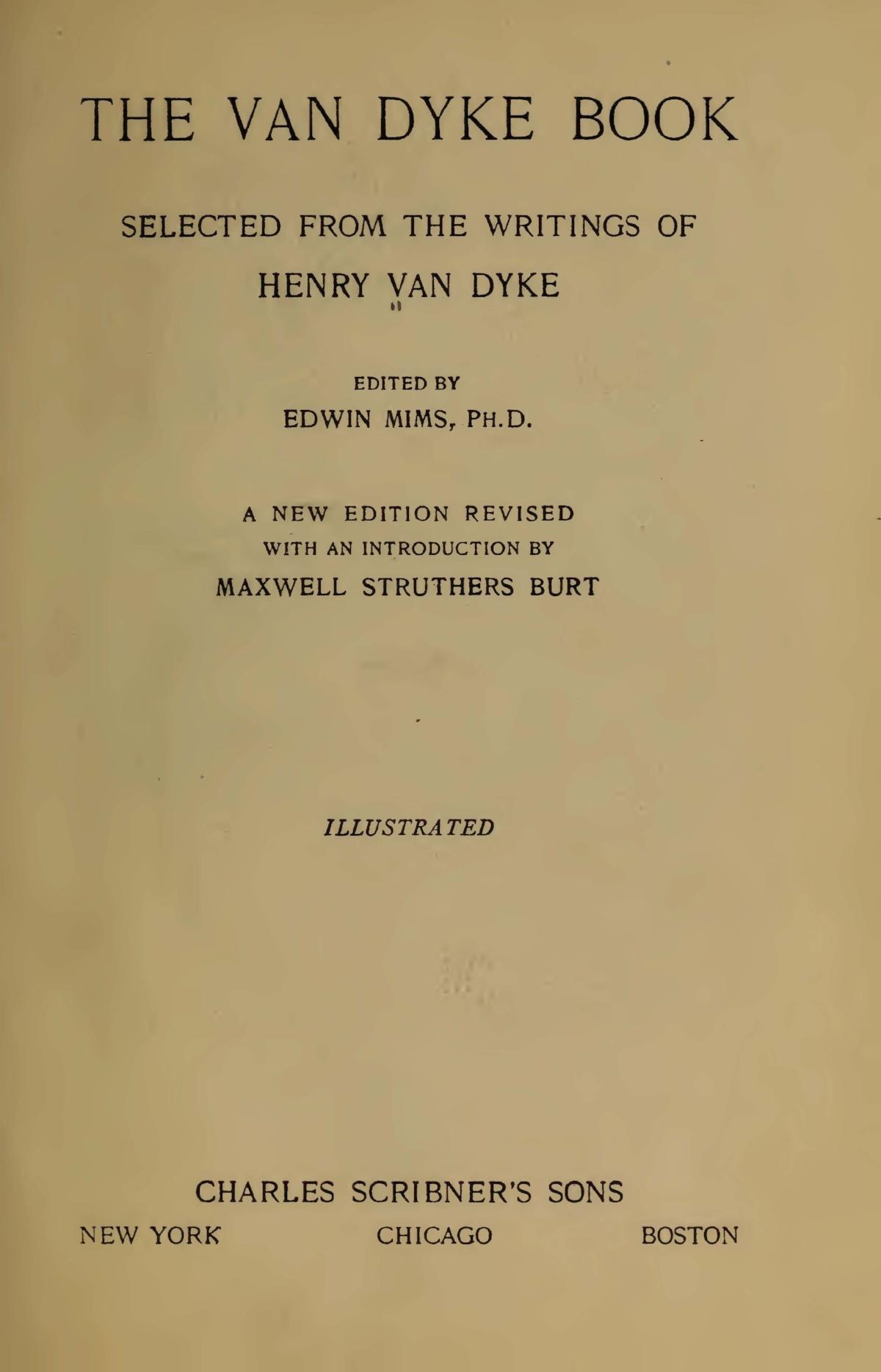 Van Dyke, Jr., Henry Jackson, The Van Dyke Book Title Page.jpg