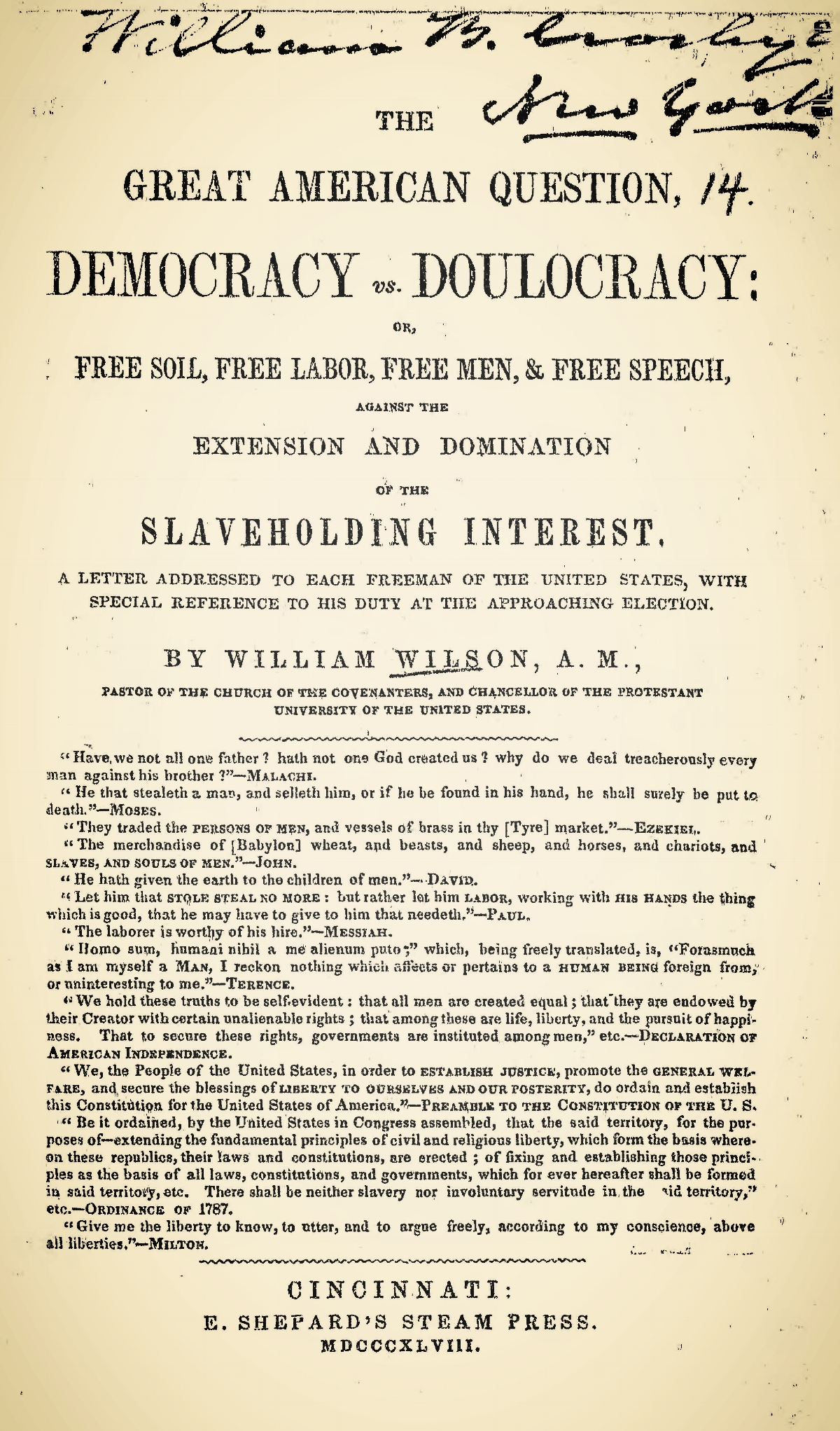 Wilson, William, The Great American Question Title Page.jpg
