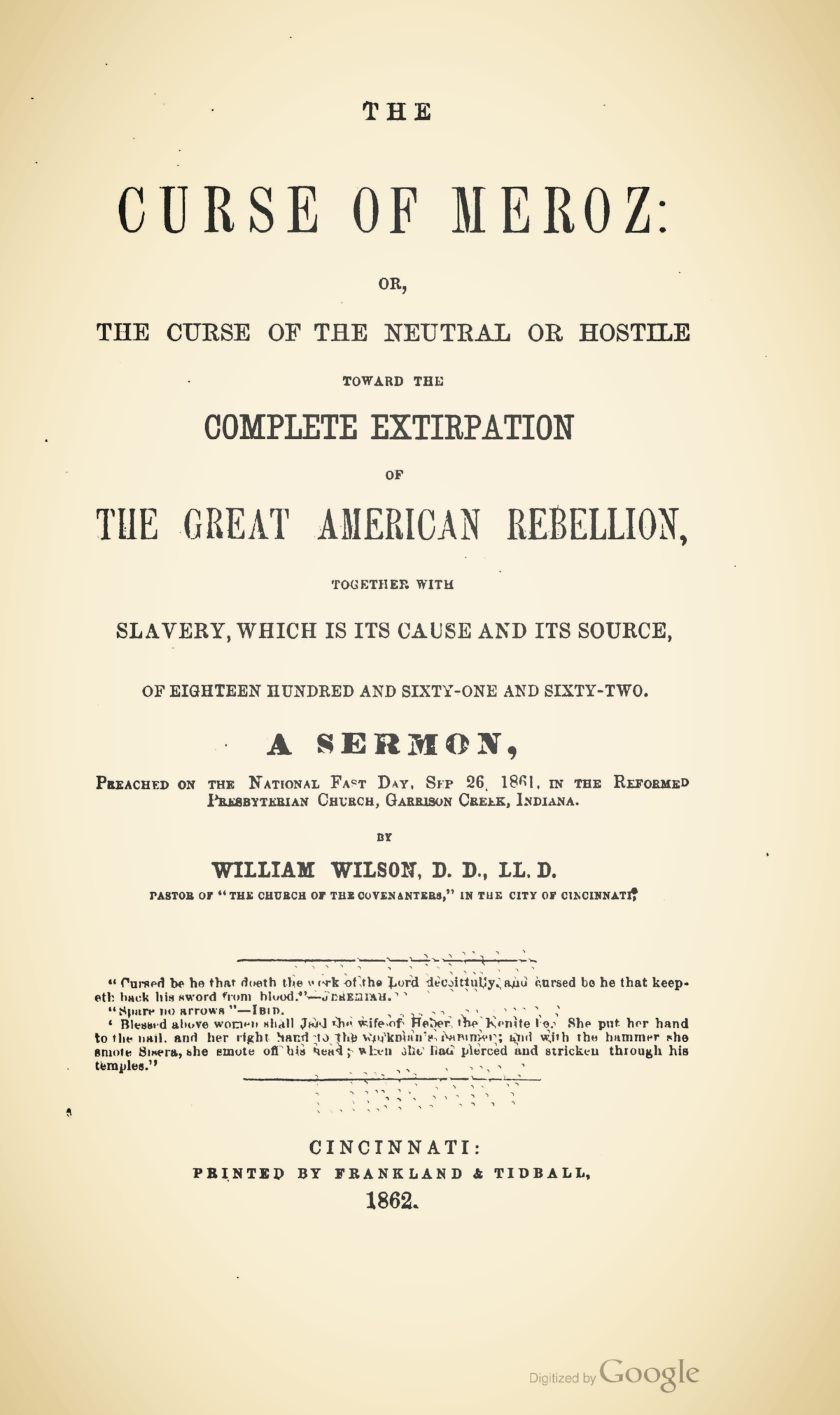 Wilson, William, The Curse of Meroz Title Page.jpg