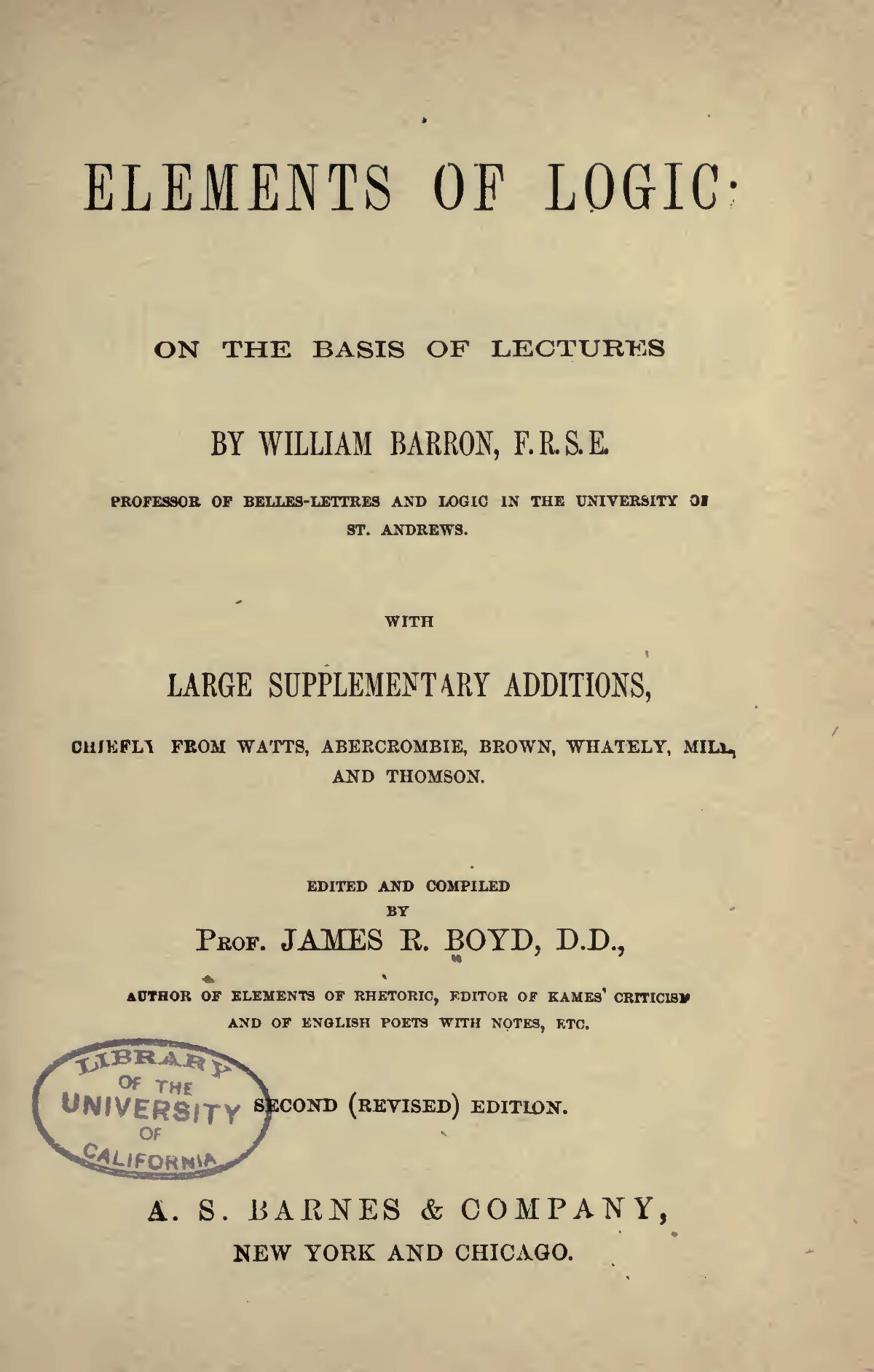 Boyd, James Robert, Elements of Logic Title Page.jpg