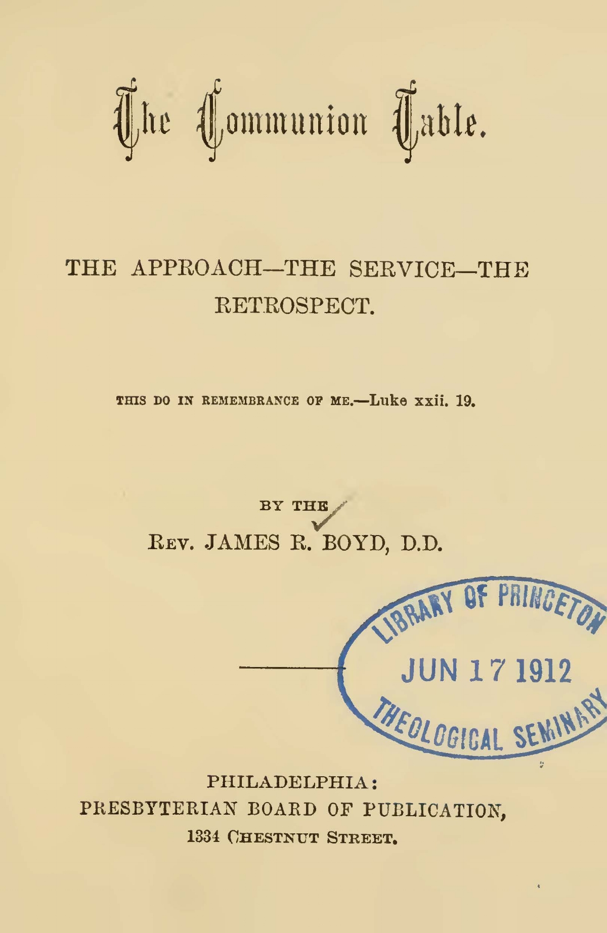 Boyd, James Robert, The Communion Table Title Page.jpg