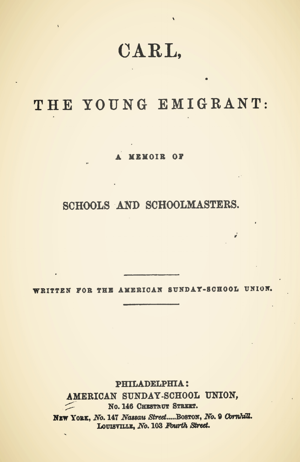 Alexander, James Waddel, Carl the Young Emigrant Title Page.jpg