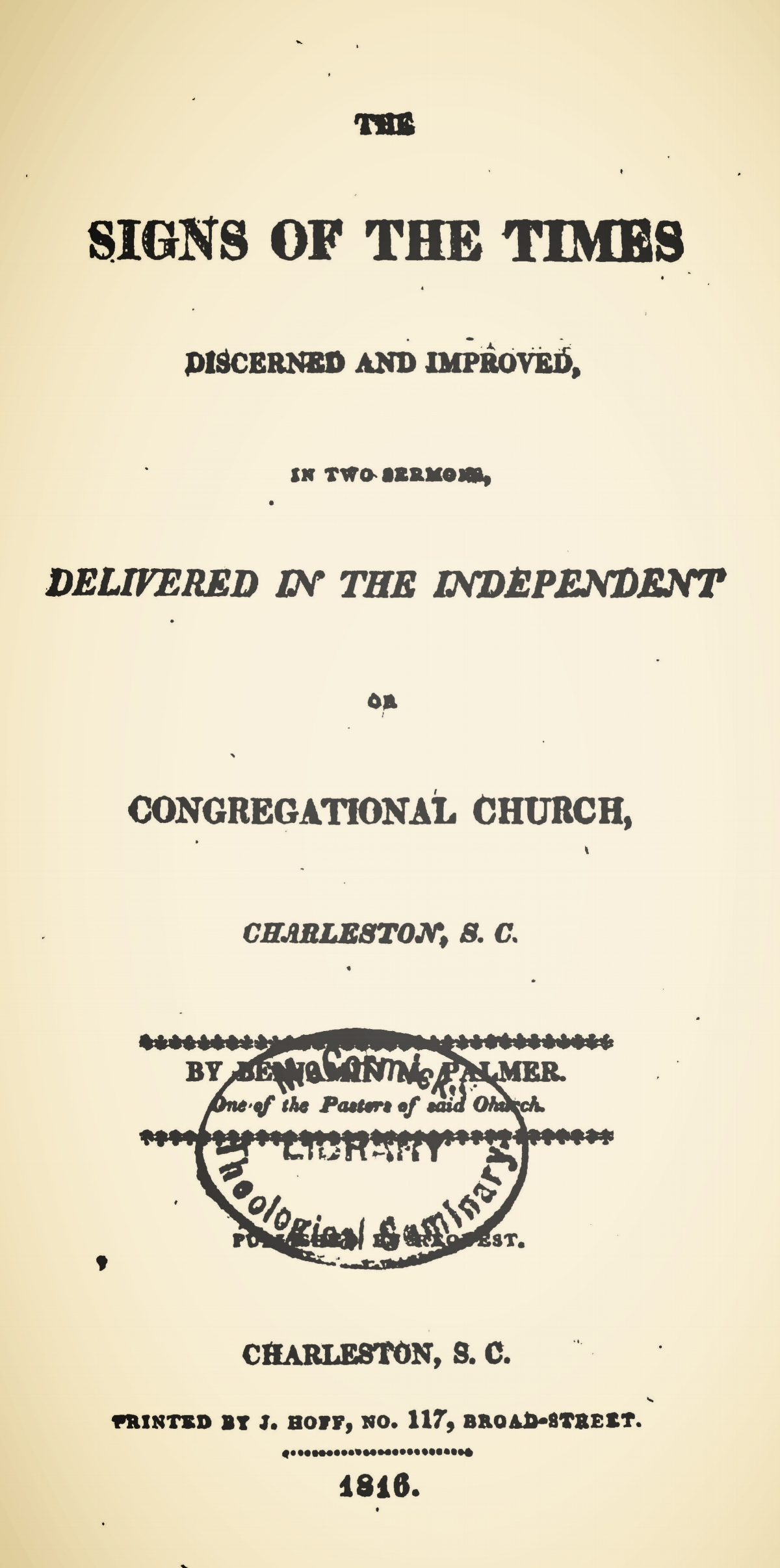 Palmer, Benjamin Morgan, The Signs of the Times Title Page.jpg