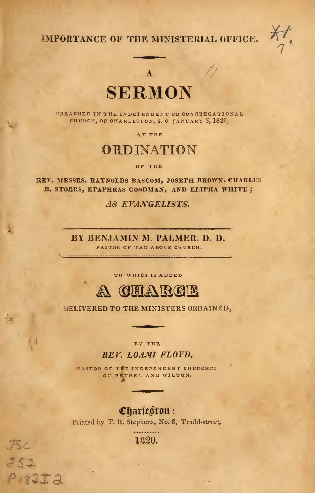 Palmer, Benjamin Morgan, Importance of the Ministerial Office Title Page.jpg