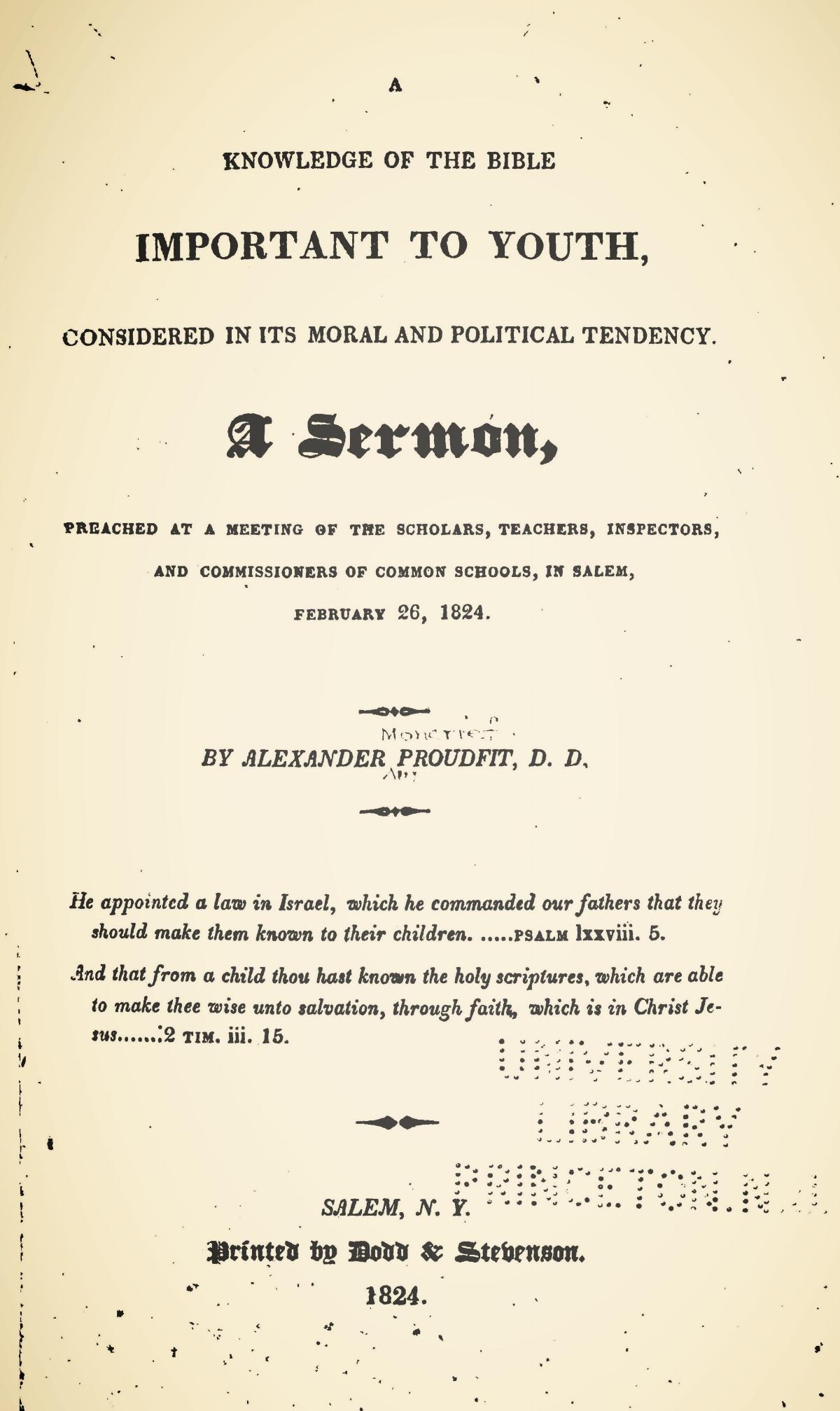 Proudfit, Alexander, A Knowledge of the Bible Important to Youth Title Page.jpg