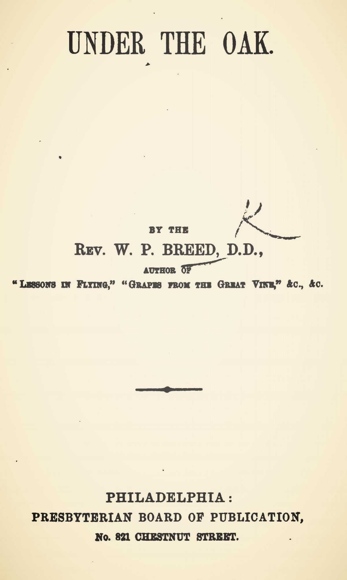 Breed, William Pratt, Under the Oak Title Page.jpg