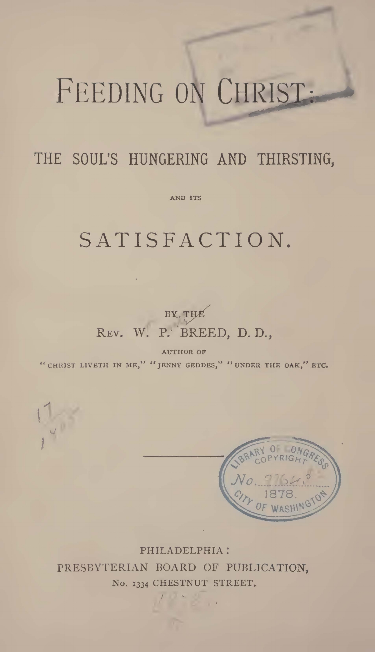Breed, William Pratt, Feeding on Christ Title Page.jpg