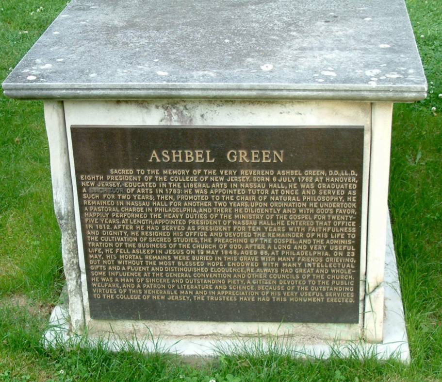 Ashbel Green is buried at Princeton Cemetery, Princeton, New Jersey.