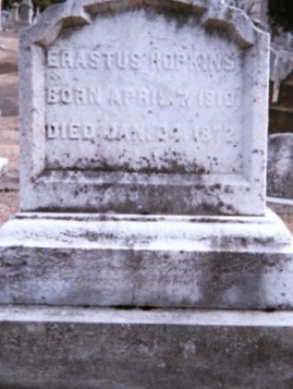 Erastus Hopkins is buried at Bridge Street Cemetery, Northampton, Massachusetts.