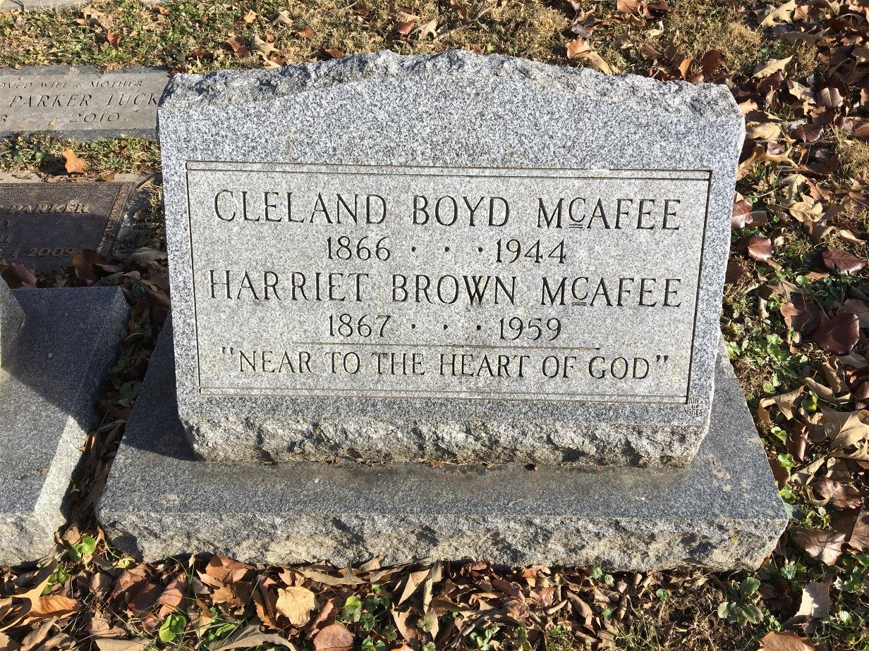 Cleland Boyd McAfee is buried at Hanover Cemetery, Hanover,Indiana.