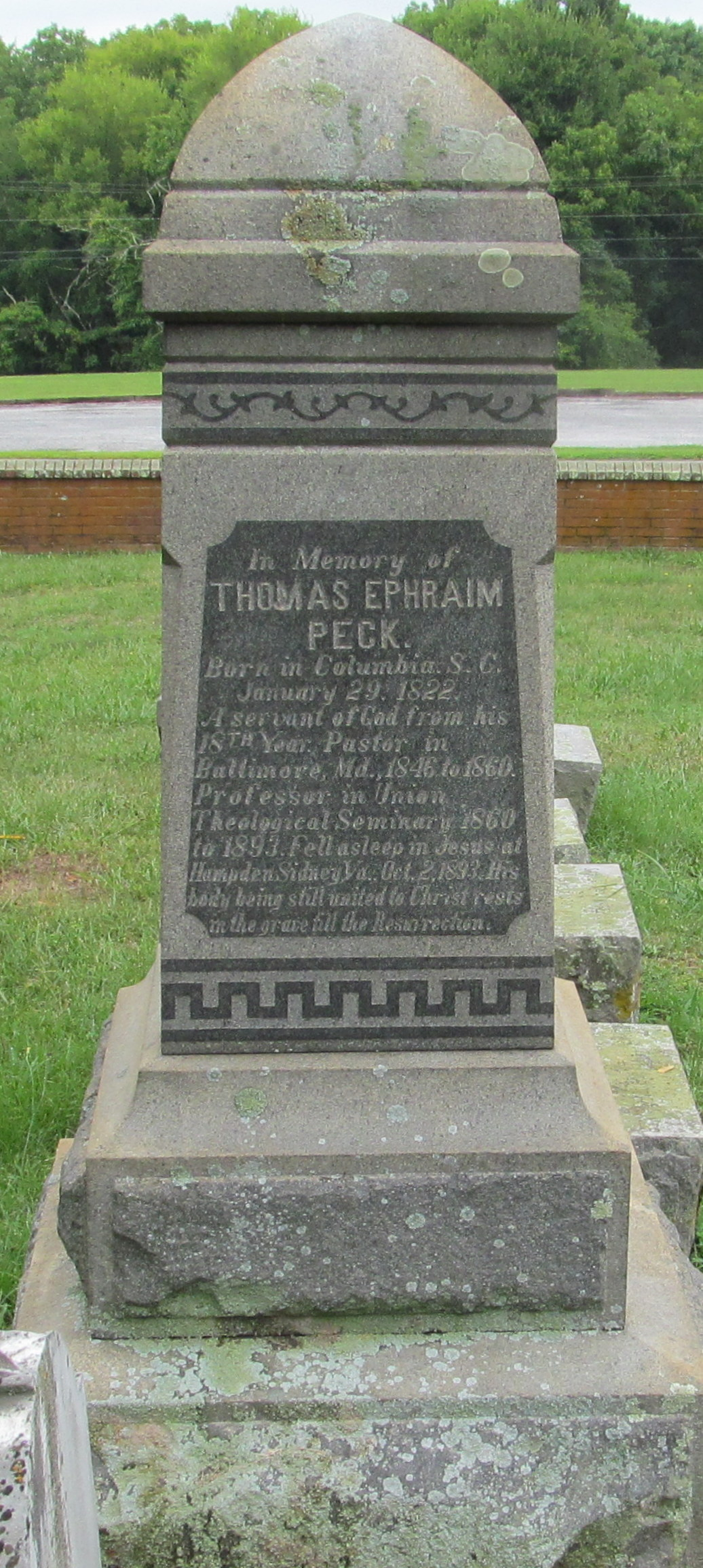 Thomas Ephraim Peck is buried at Union Theological Seminary Cemetery, Hampden Sydney, Virginia.