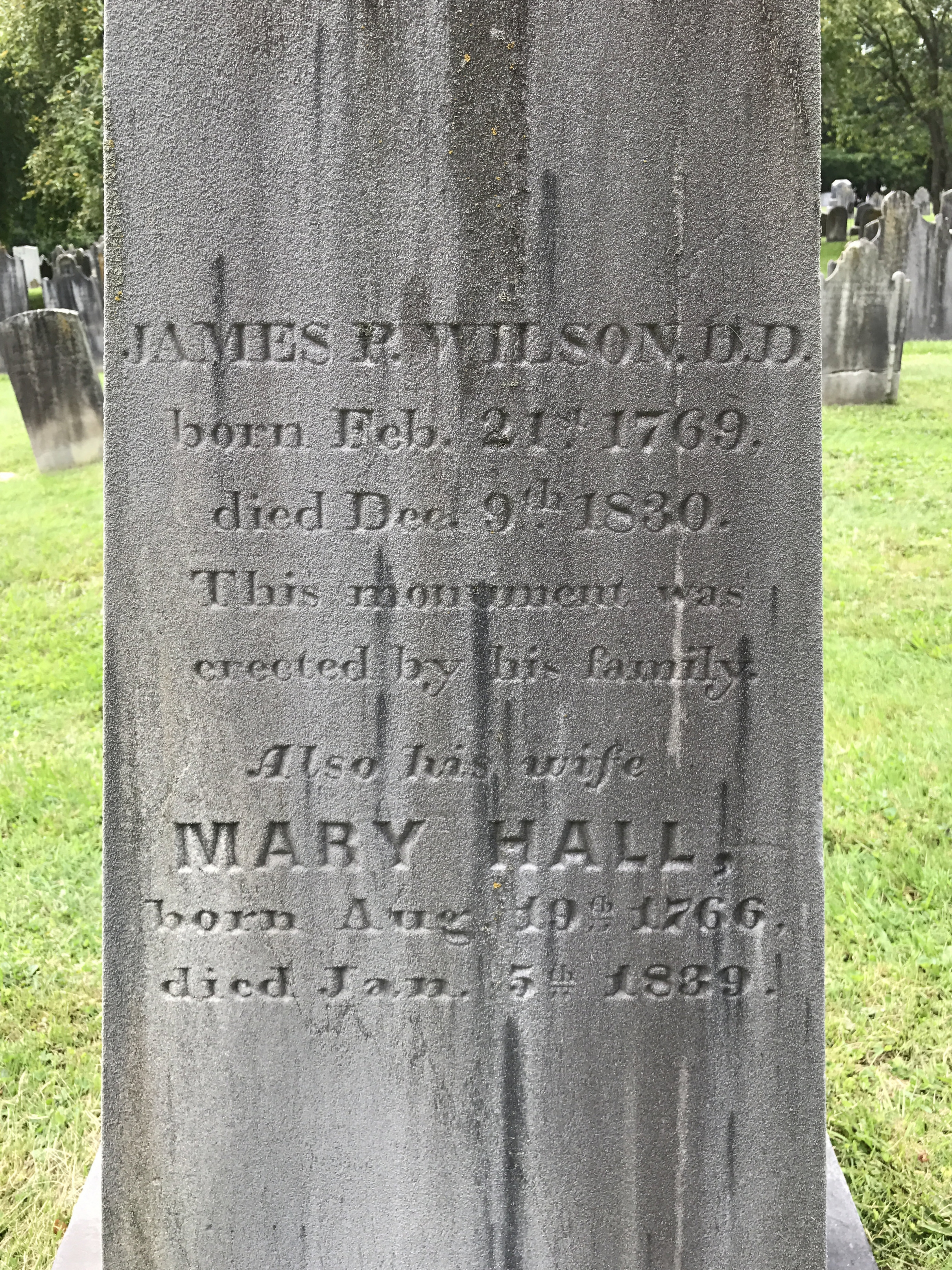 James Patriot Wilson, Sr. is buried at Neshaminy Cemetery, Hartsville, Pennsylvania.