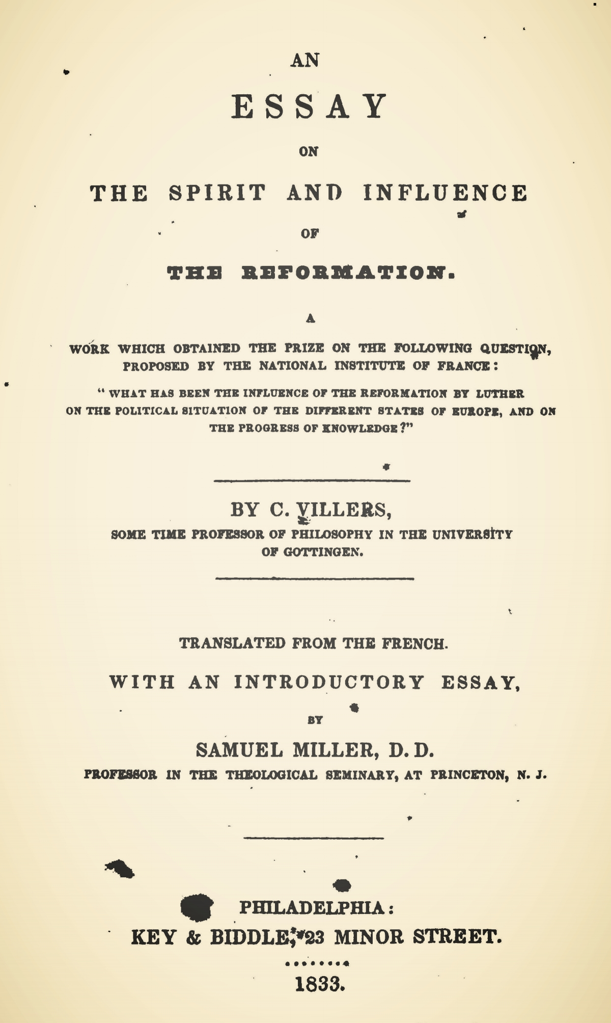 Miller, Samuel, Introductory Essay on An Essay on the Spirit and Influence of the Reformation Title Page.jpg