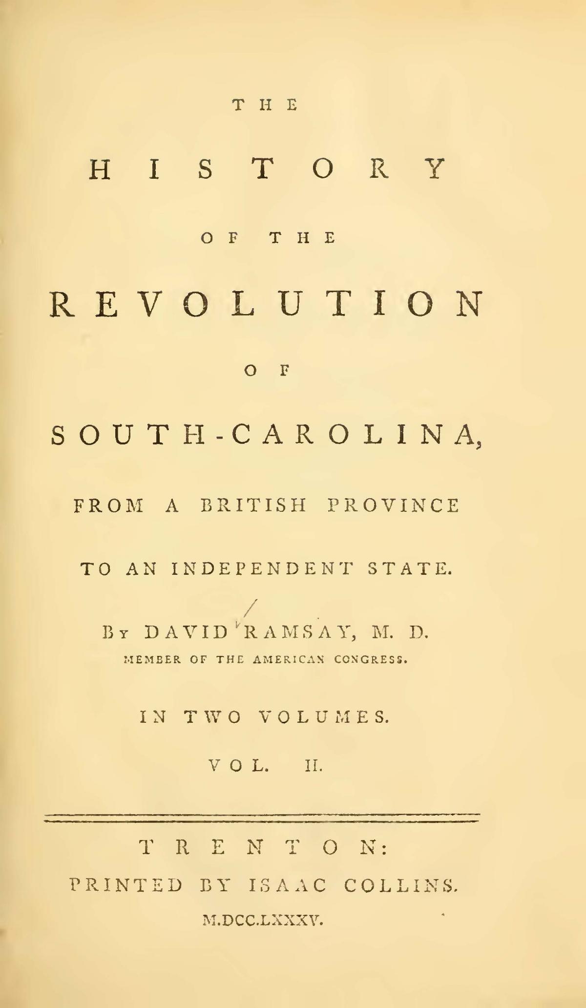 Ramsay, David, The History of the Revolution of South Carolina, Vol. 2 Title Page.jpg
