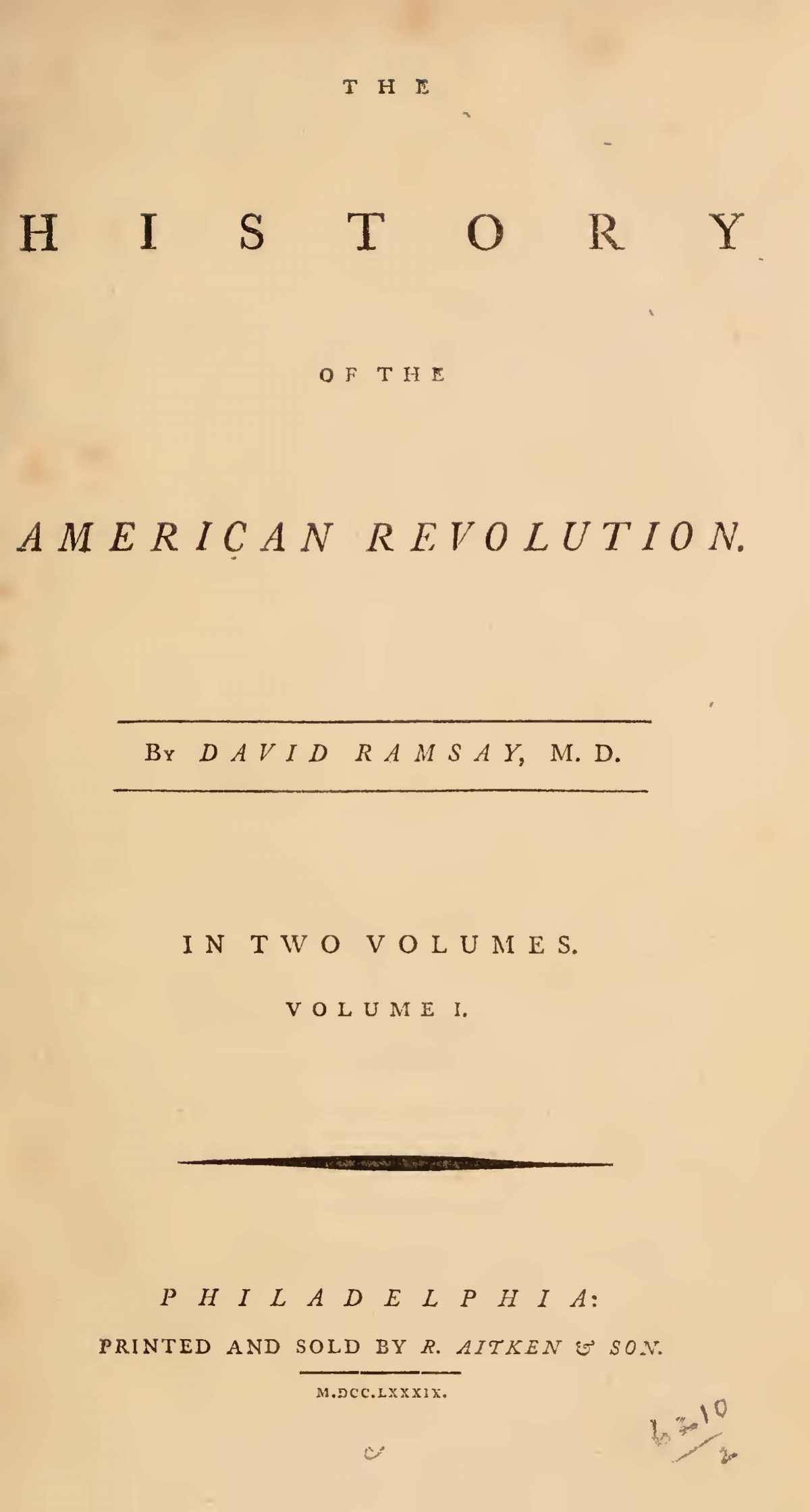 Ramsay, David, The History of the American Revolution, Vol. 1 Title Page.jpg