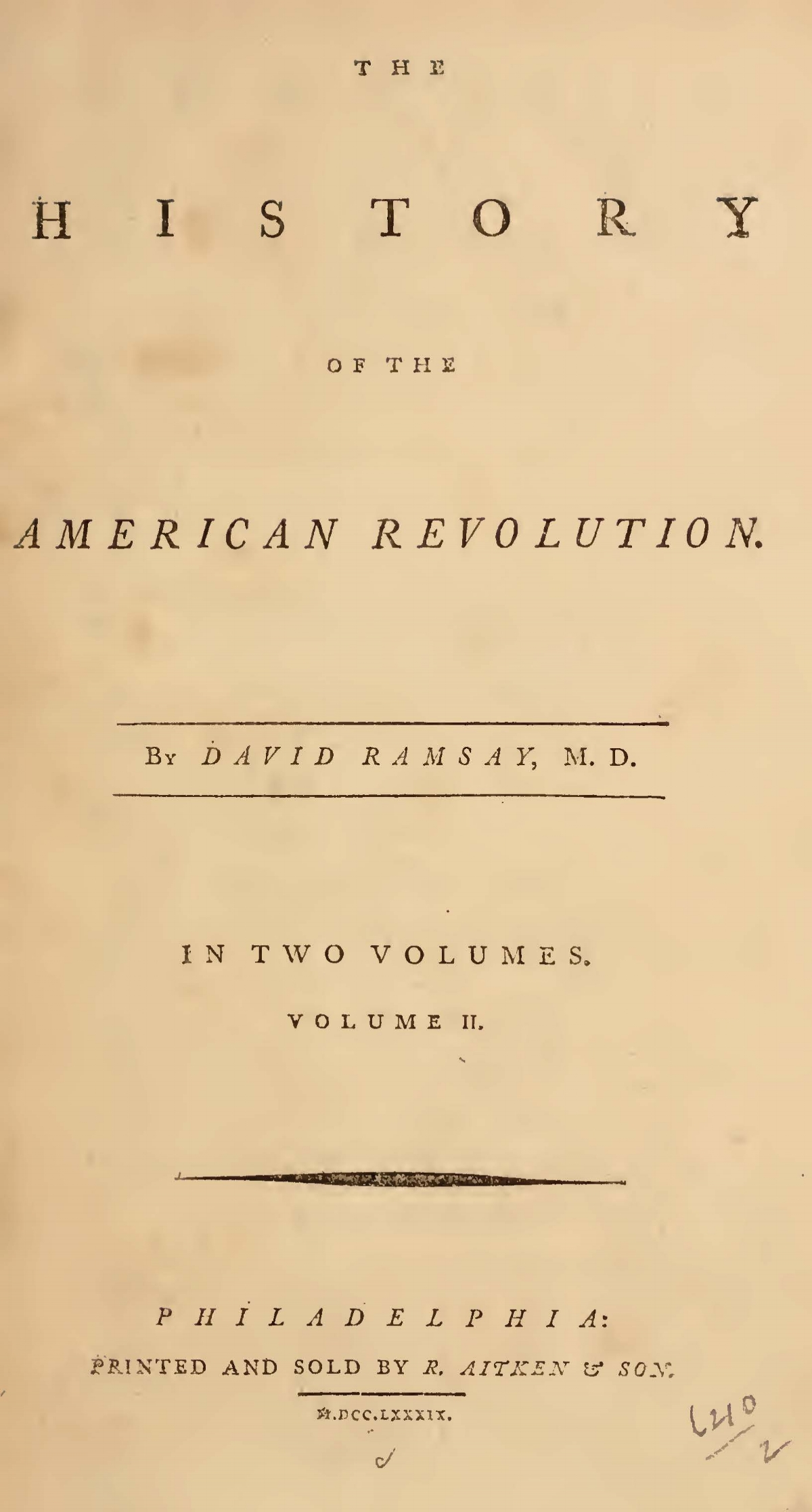 Ramsay, David, The History of the American Revolution, Vol. 2 Title Page.jpg