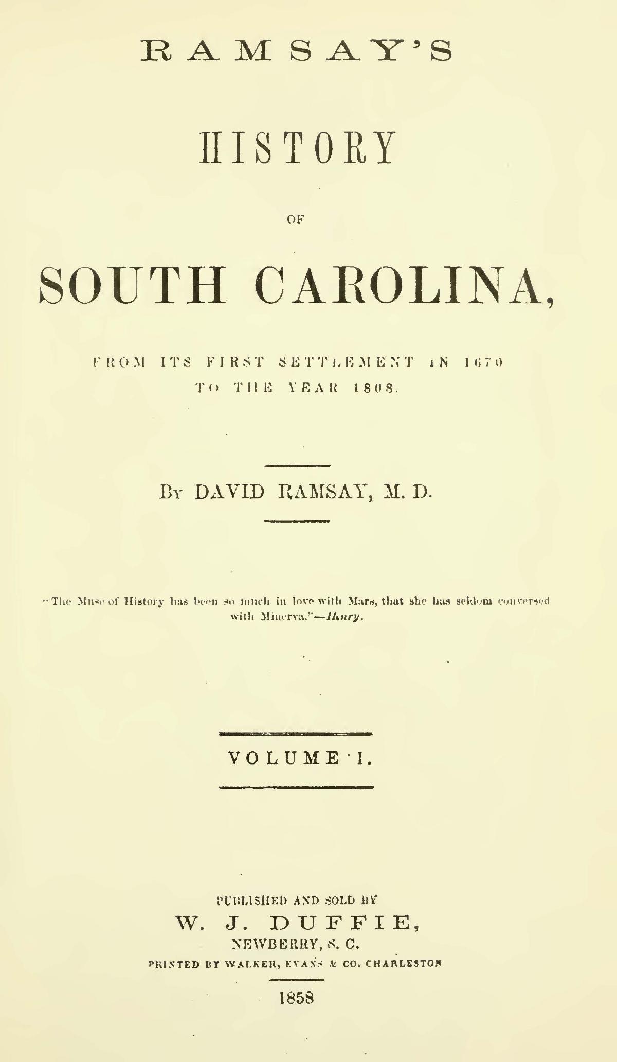 Ramsay, David, History of South Carolina, Vol. 1 Title Page.jpg