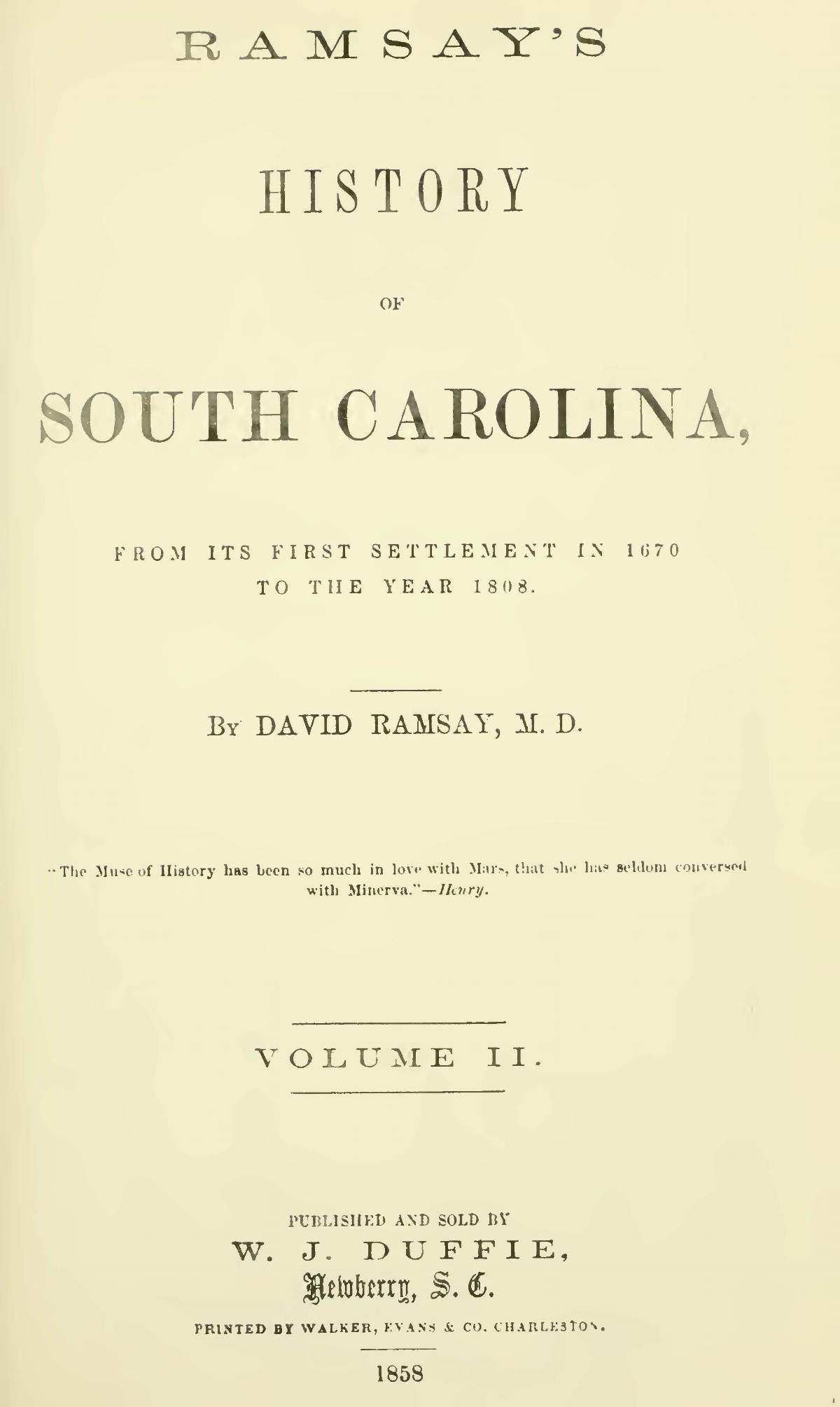 Ramsay, David, History of South Carolina, Vol. 2 Title Page.jpg