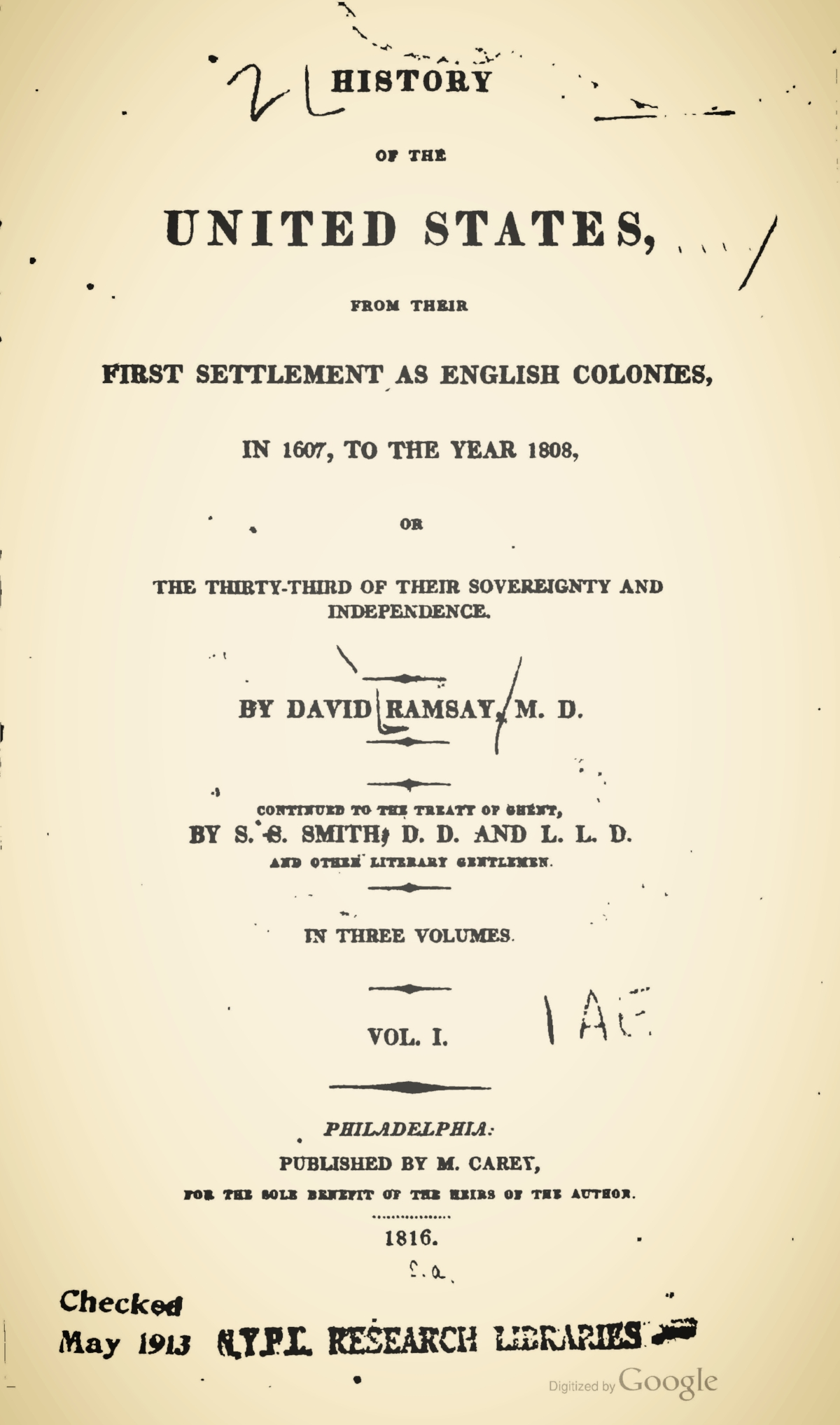 Ramsay, David, History of the United States, Vol. 1 Title Page.jpg