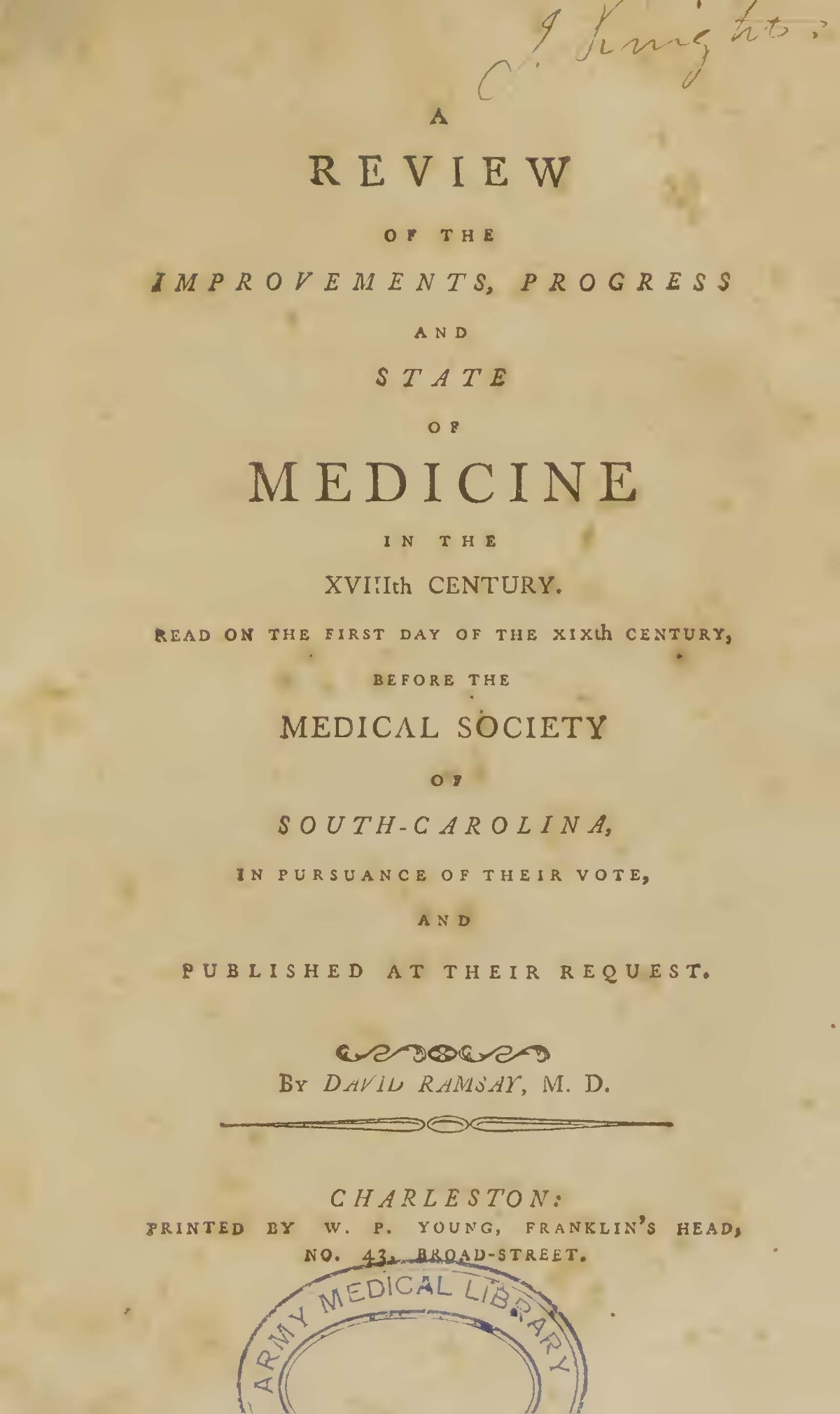 Ramsay, David, A Review of the Improvements of Medicine in the XVIIIth Century Title Page.jpg