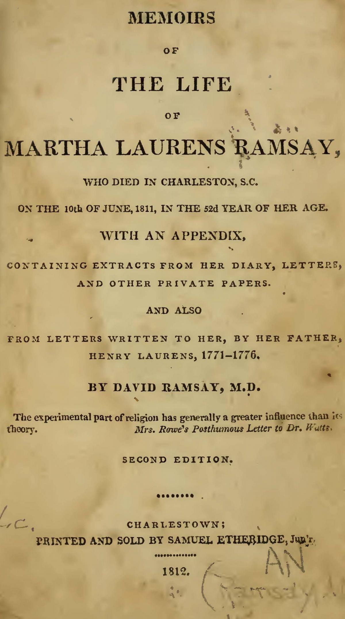 Ramsay, David, Memoirs of the Life of Martha Laurens Ramsay Title Page.jpg