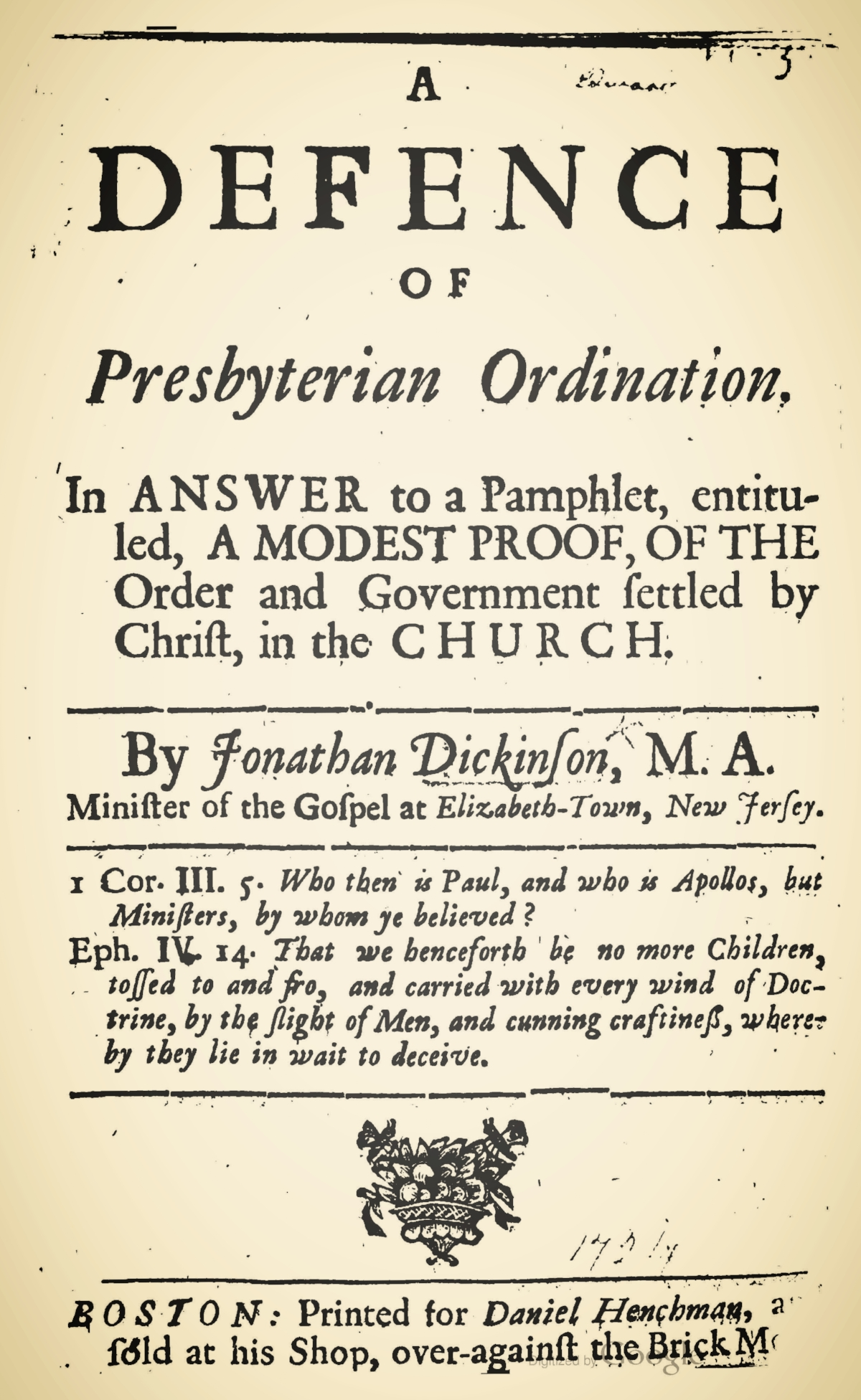 Dickinson, Jonathan, A Defence of Presbyterian Ordination Title Page.jpg