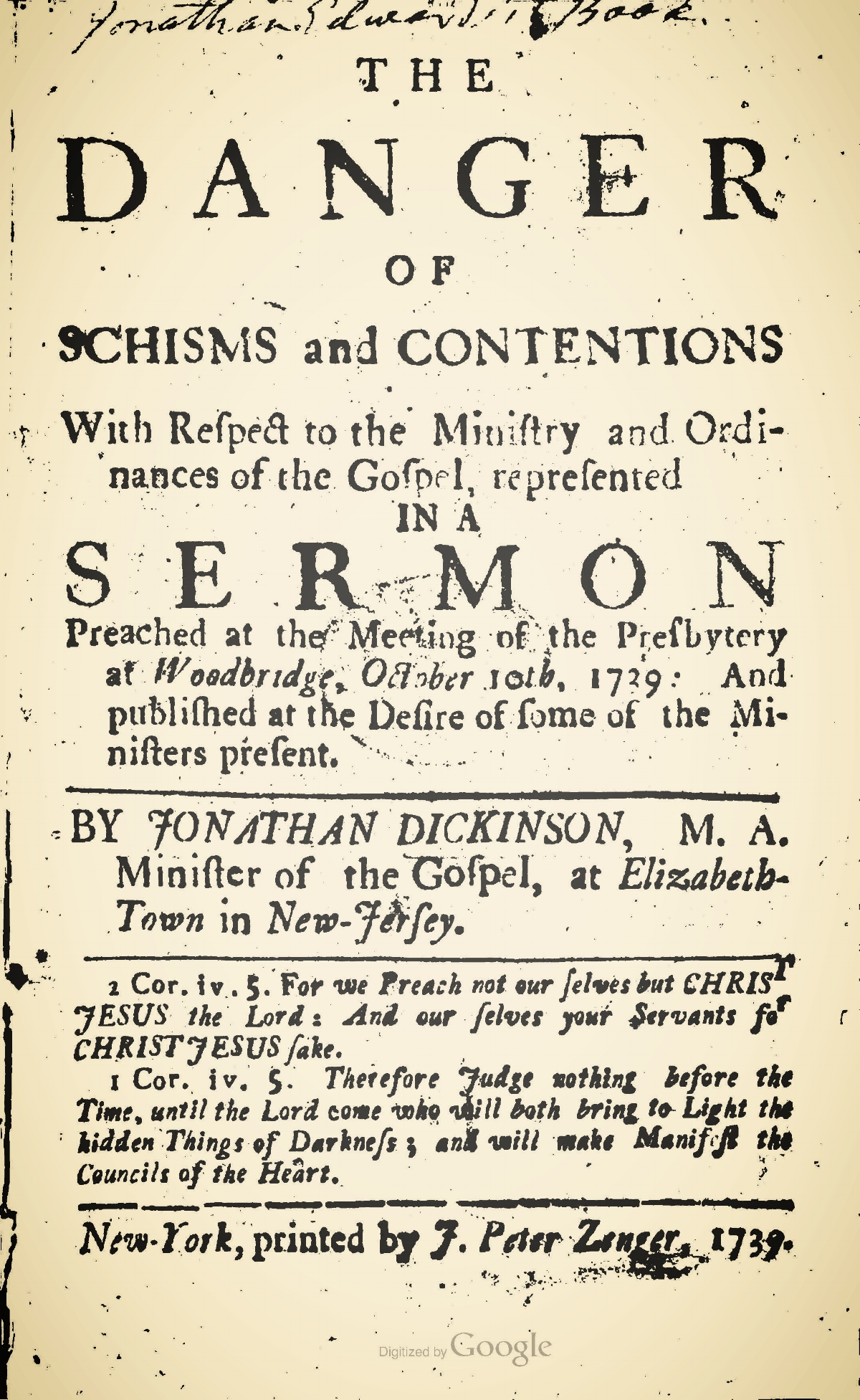 Dickinson, Jonathan, The Danger of Schisms and Contentions Title Page.jpg
