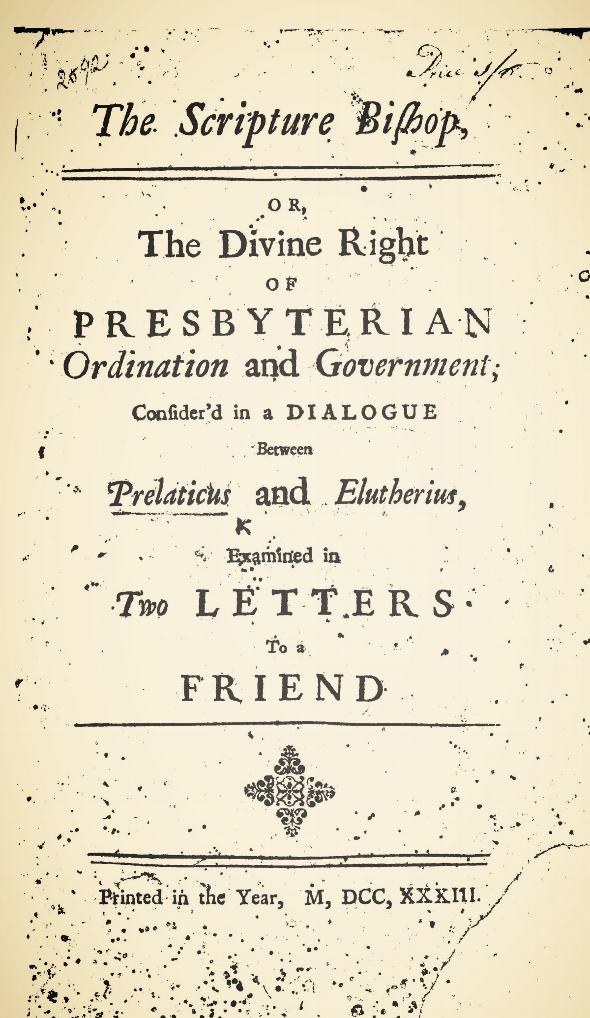 Dickinson, Jonathan, The Scripture Bishop Title Page.jpg