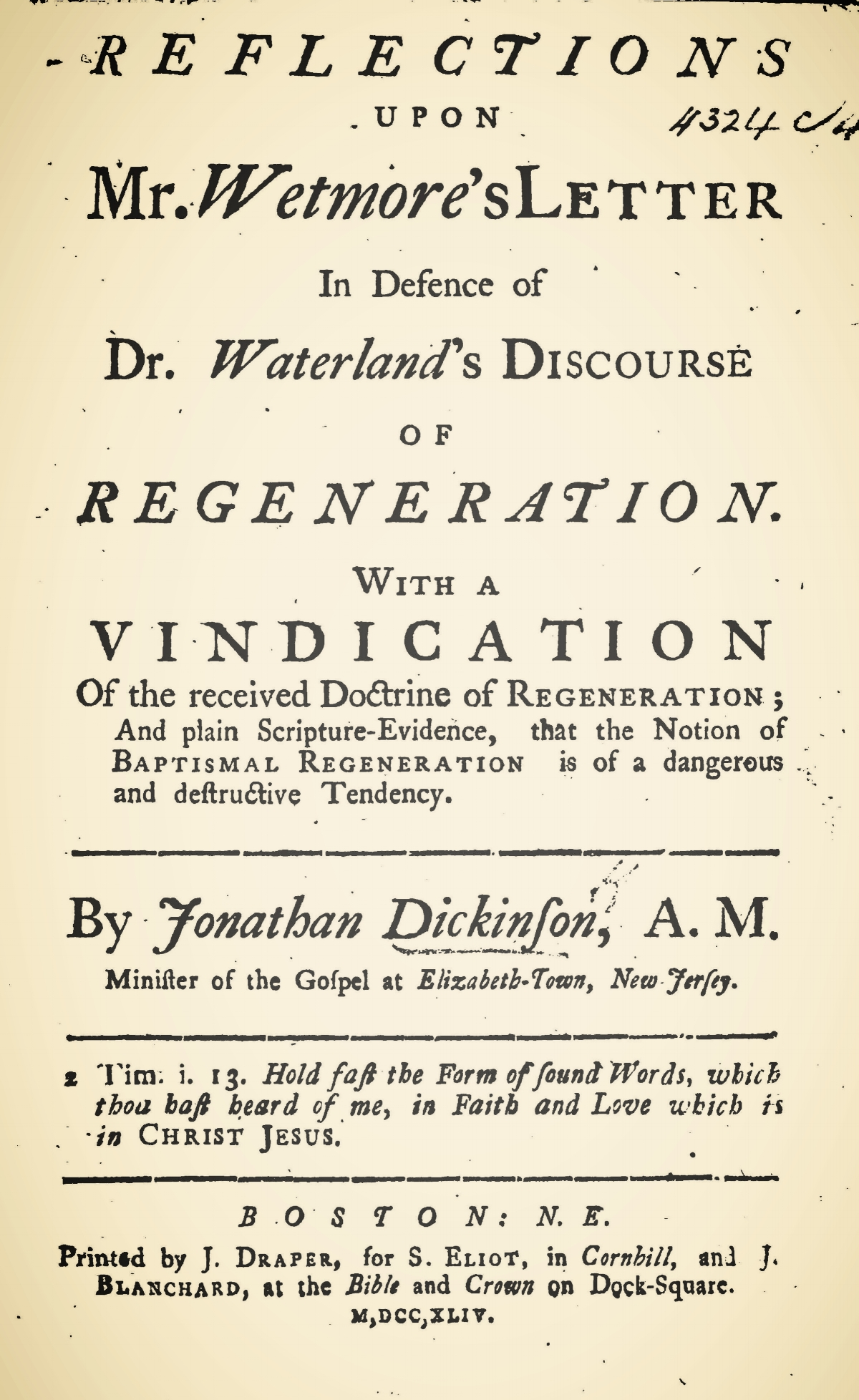 Dickinson, Jonathan, Reflections Upon Mr. Wetmore's Letter Title Page.jpg